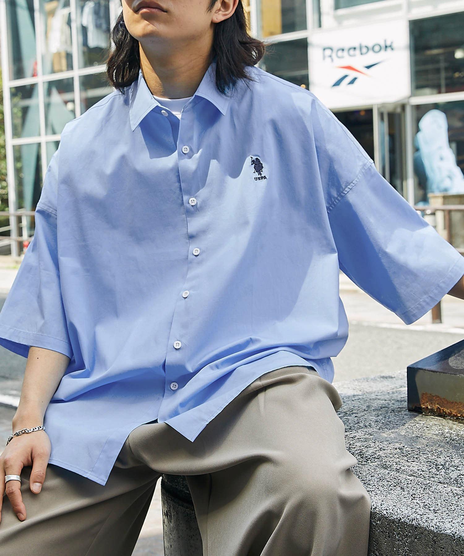 U.S. POLO ASSN. /ユーエスポロアッスン 別注 ワンポイント刺繍ロゴ オーバーサイズ SS レギュラーカラーシャツ