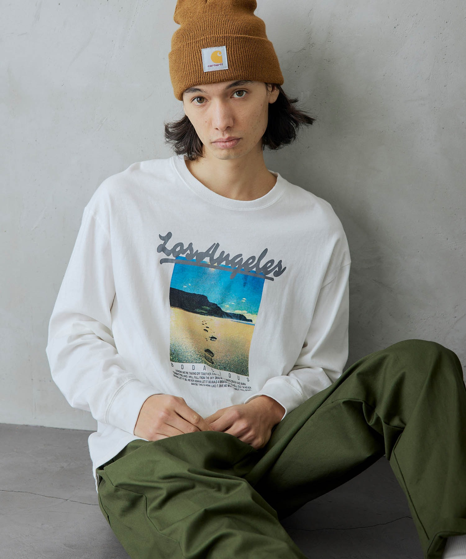 ロゴ×フォトプリント オーバーサイズクルーネック長袖Tシャツ /グラフィック / アート / ロック / バックプリント / フォト / アメリカン