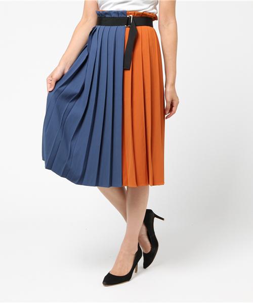 【Dignite Collier】プリーツバイカラースカート