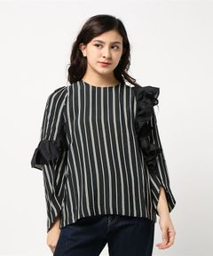 【Clu】ASYMMETRIC RUFFLED STRIPED SHIRT
