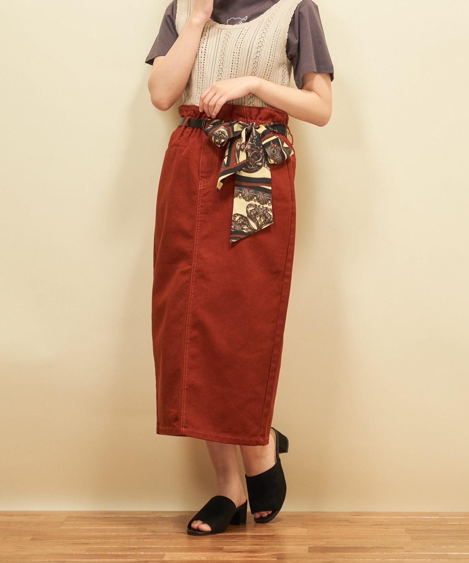 スカーフベルト付ナロースカート