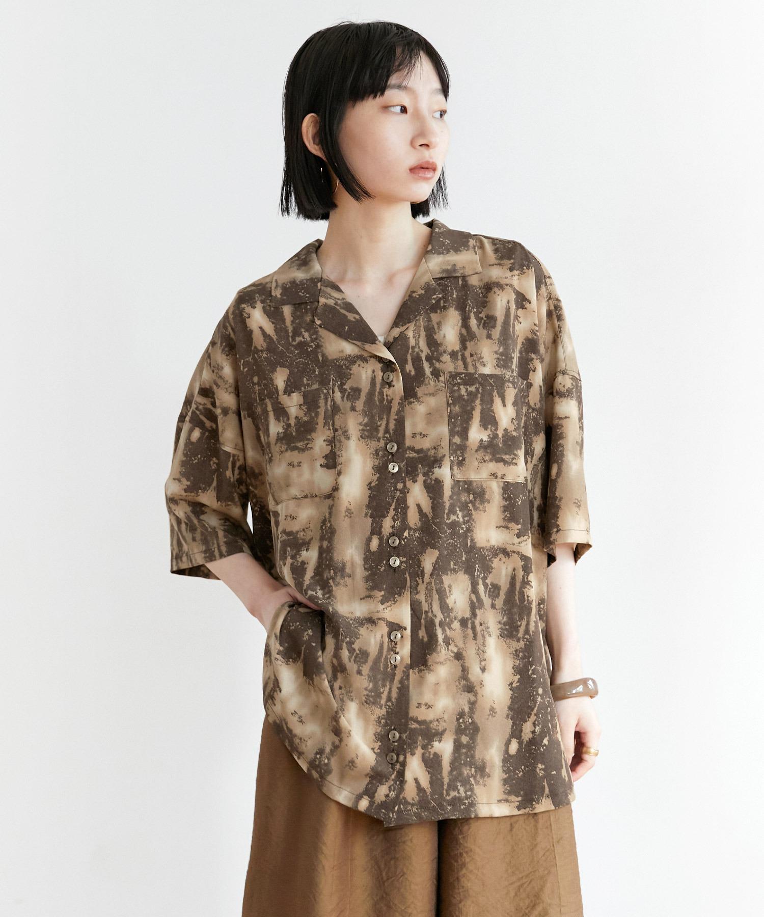 【EMMA】水彩アートプリント半袖シャツ
