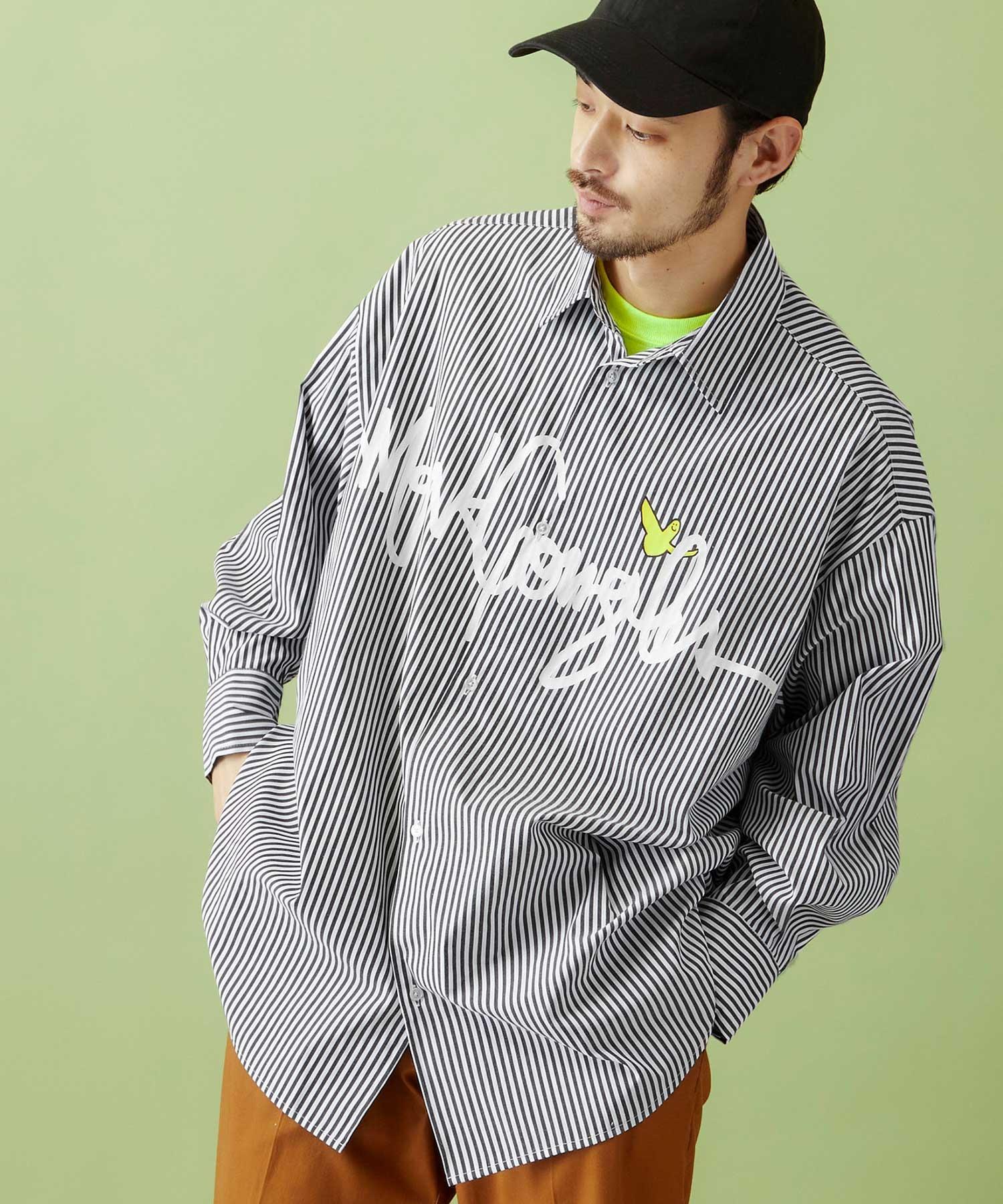 Mark Gonzales/マークゴンザレス MONO-MART別注 ロゴプリント オーバーサイズ ストライプシャツ