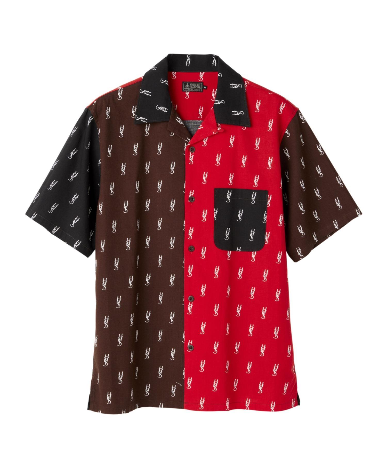 HYS MONOGRAM柄 クレイジーパターンオープンカラーシャツ