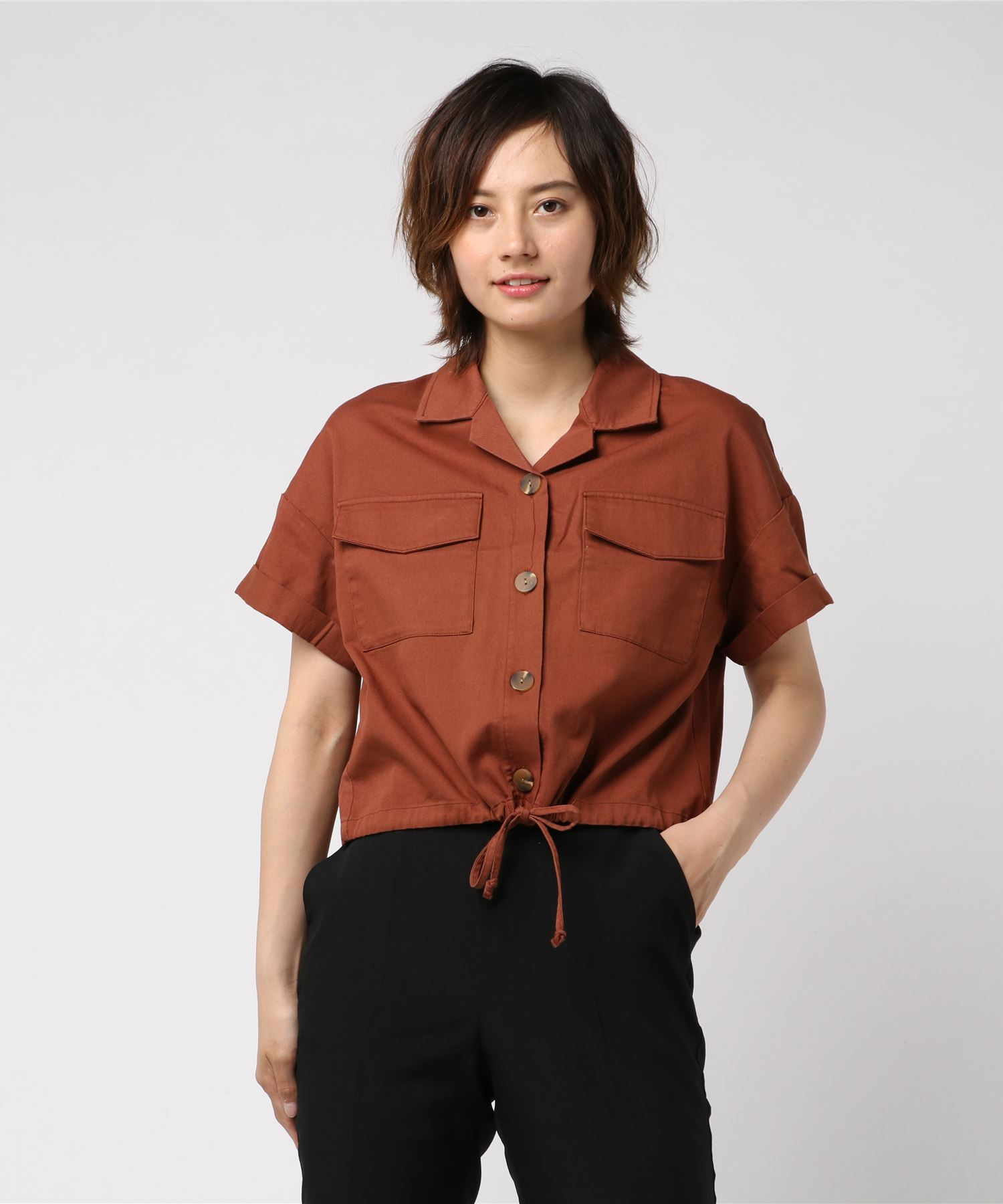 裾ドロスト半袖シャツ