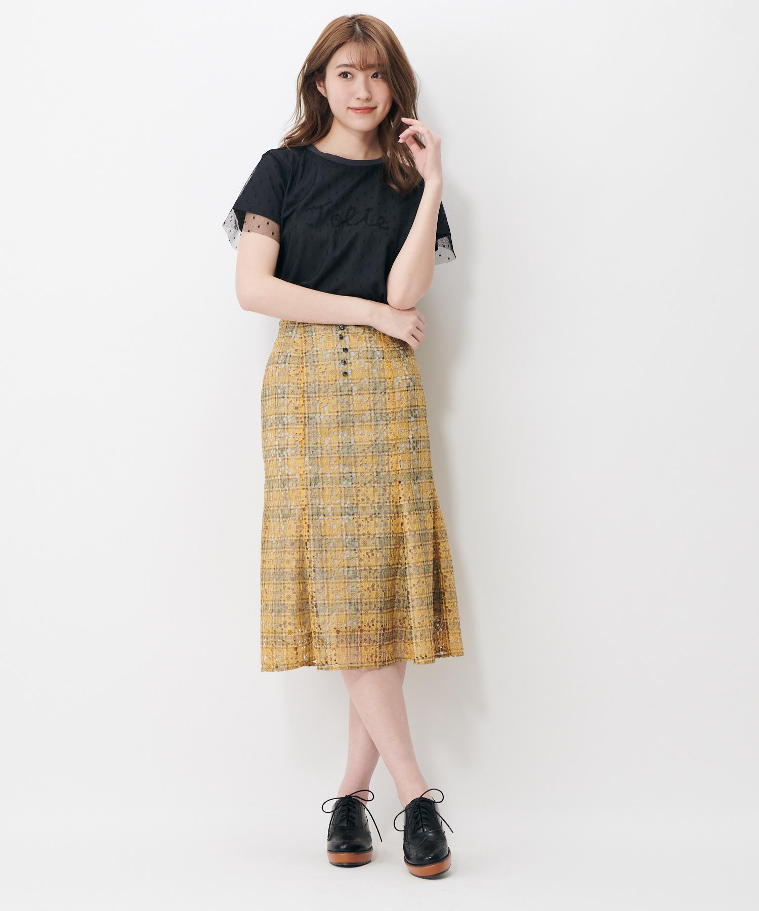 チェックレースマーメイドスカート