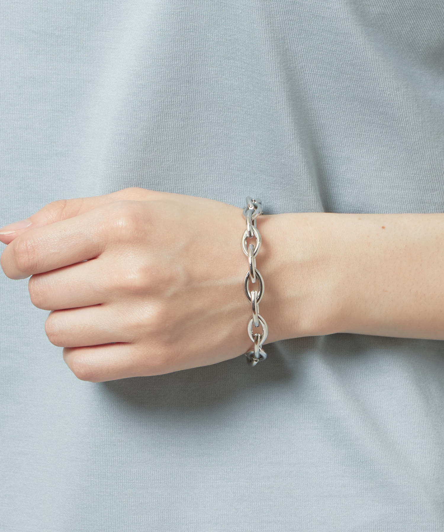 Happy Camper Denim Blues Charm with Chain Bracelet
