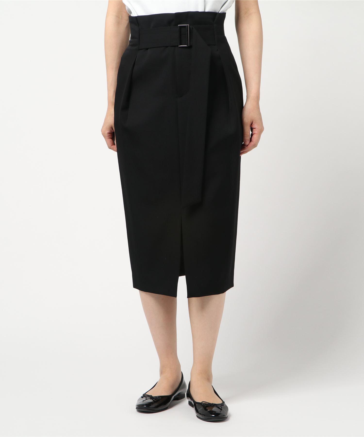 ESTNATION / ウールツイルハイウエストベルトスカート
