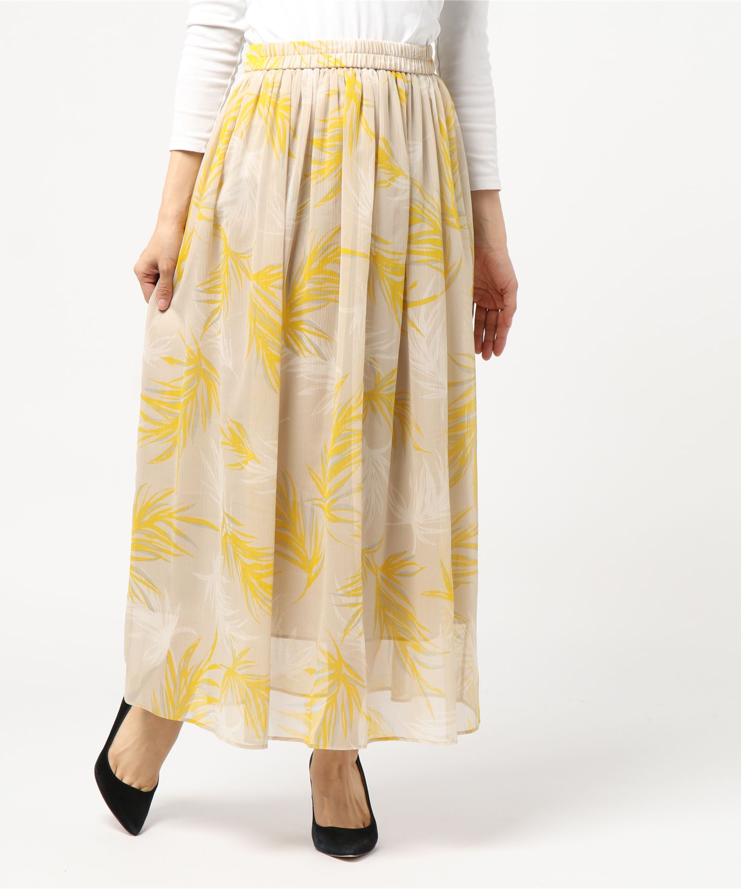 ESTNATION / リーフプリントギャザースカート