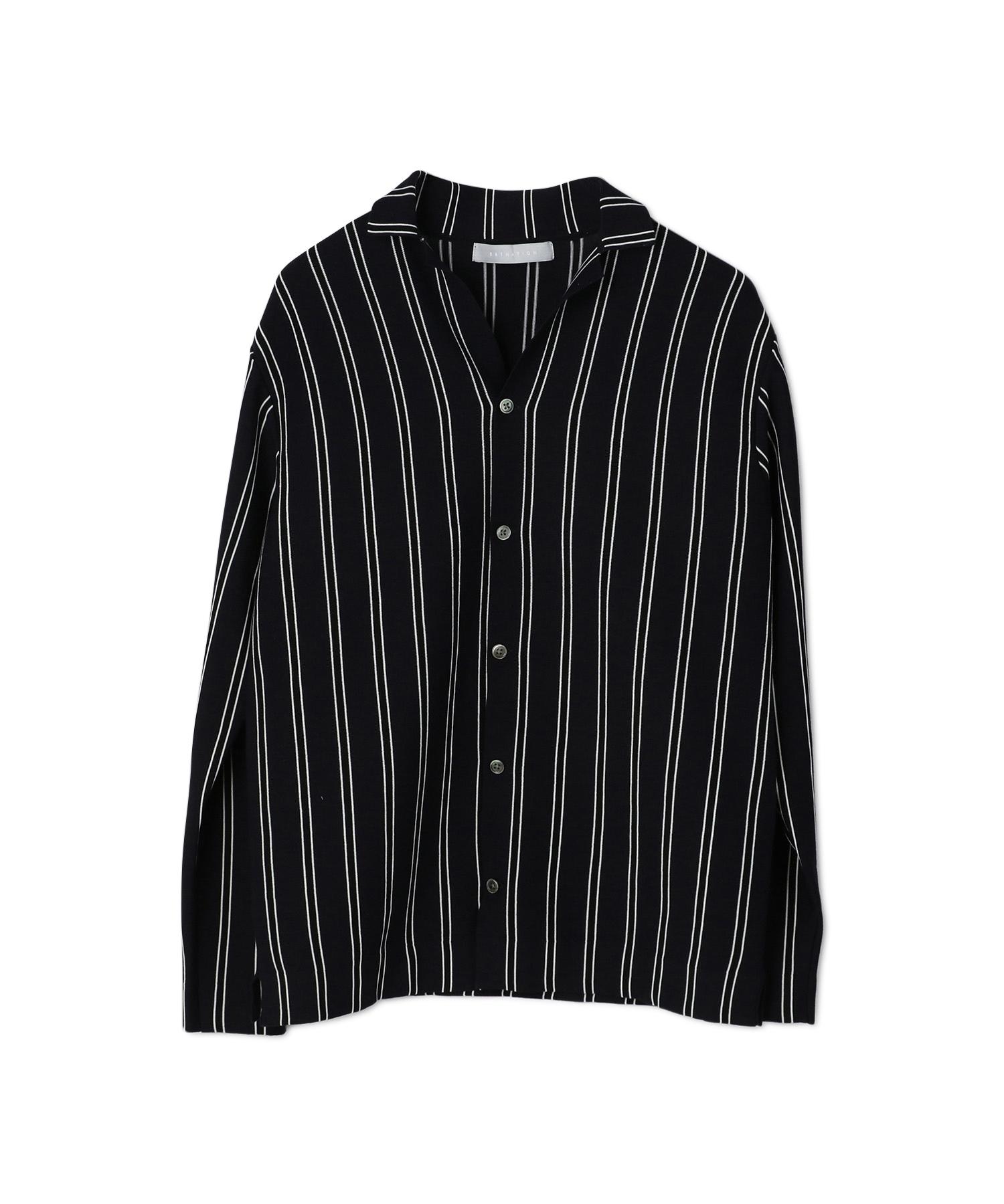 ESTNATION / ウォッシャブルストライプニットシャツ