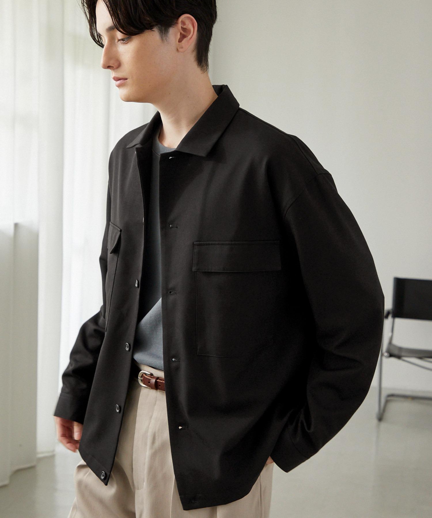 TRストレッチ スーツ地 オーバーサイズ CPO シャツ ジャケット/ドレープCPOシャツJKT