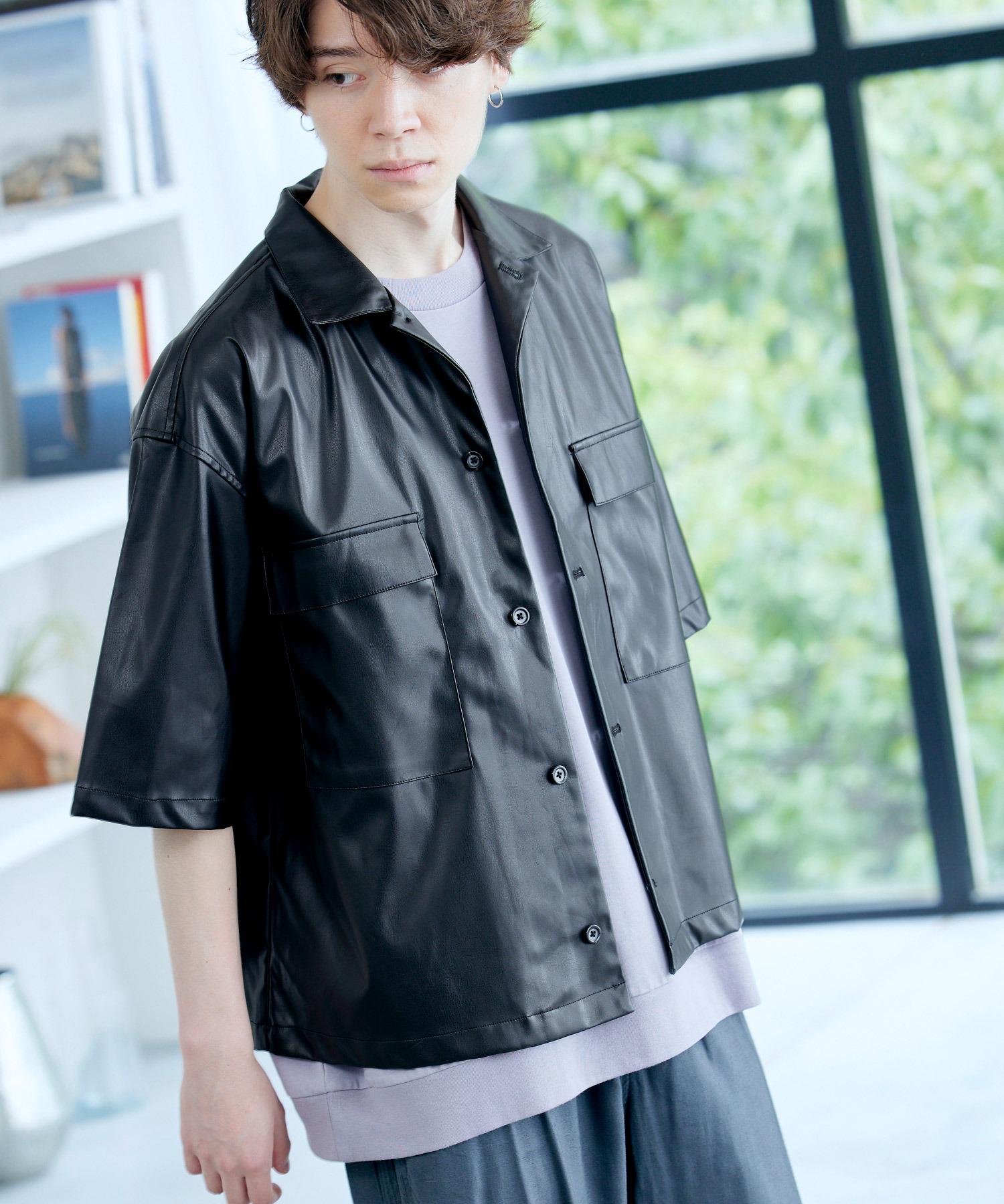 シンセティックレザー オーバーサイズ 1/2 sleeve CPOシャツ 2021SUMMER