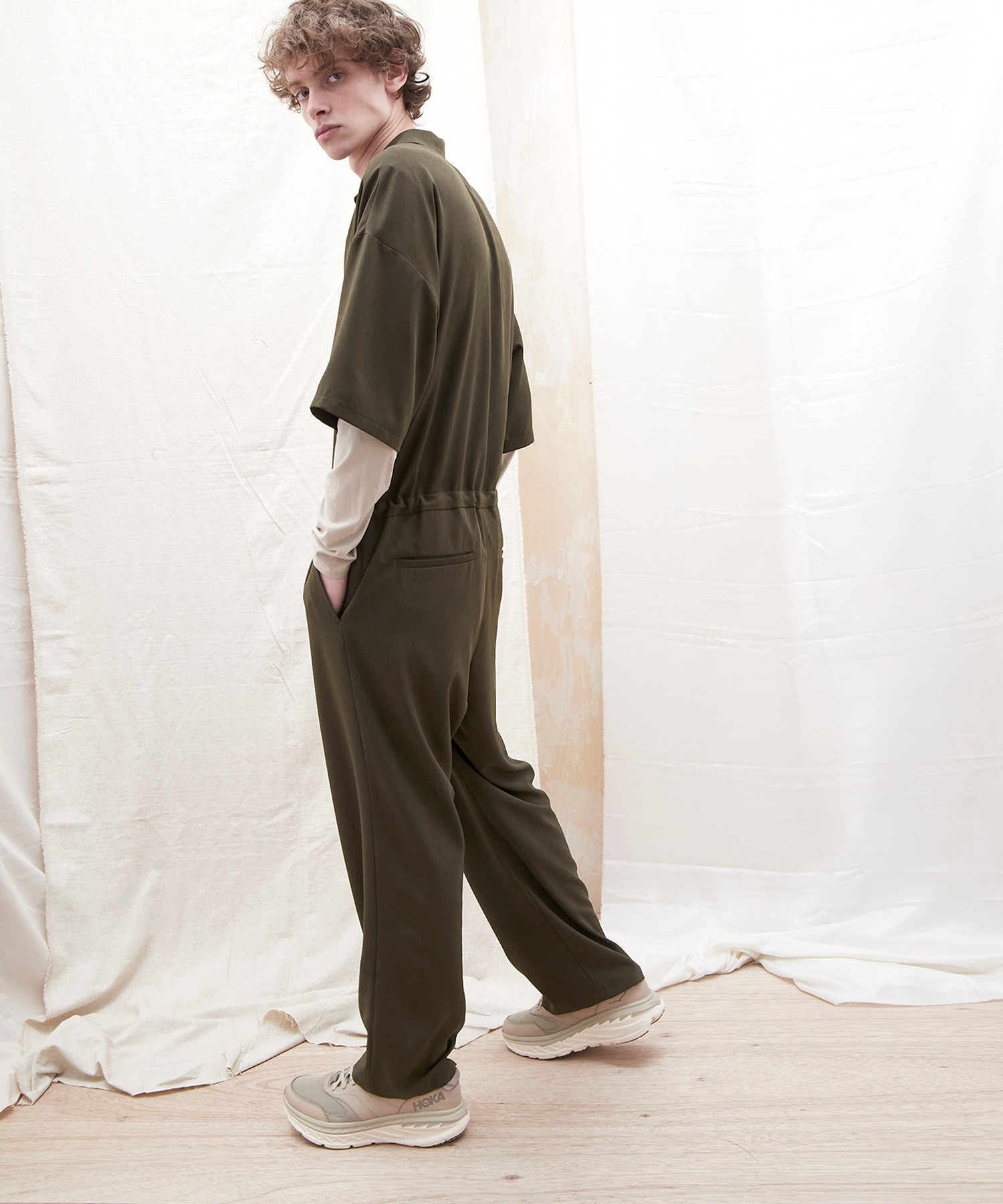 ドレープファブリックオーバーサイズジャンプスーツ【EMMA CLOTHES/エマクローズ】2021SS