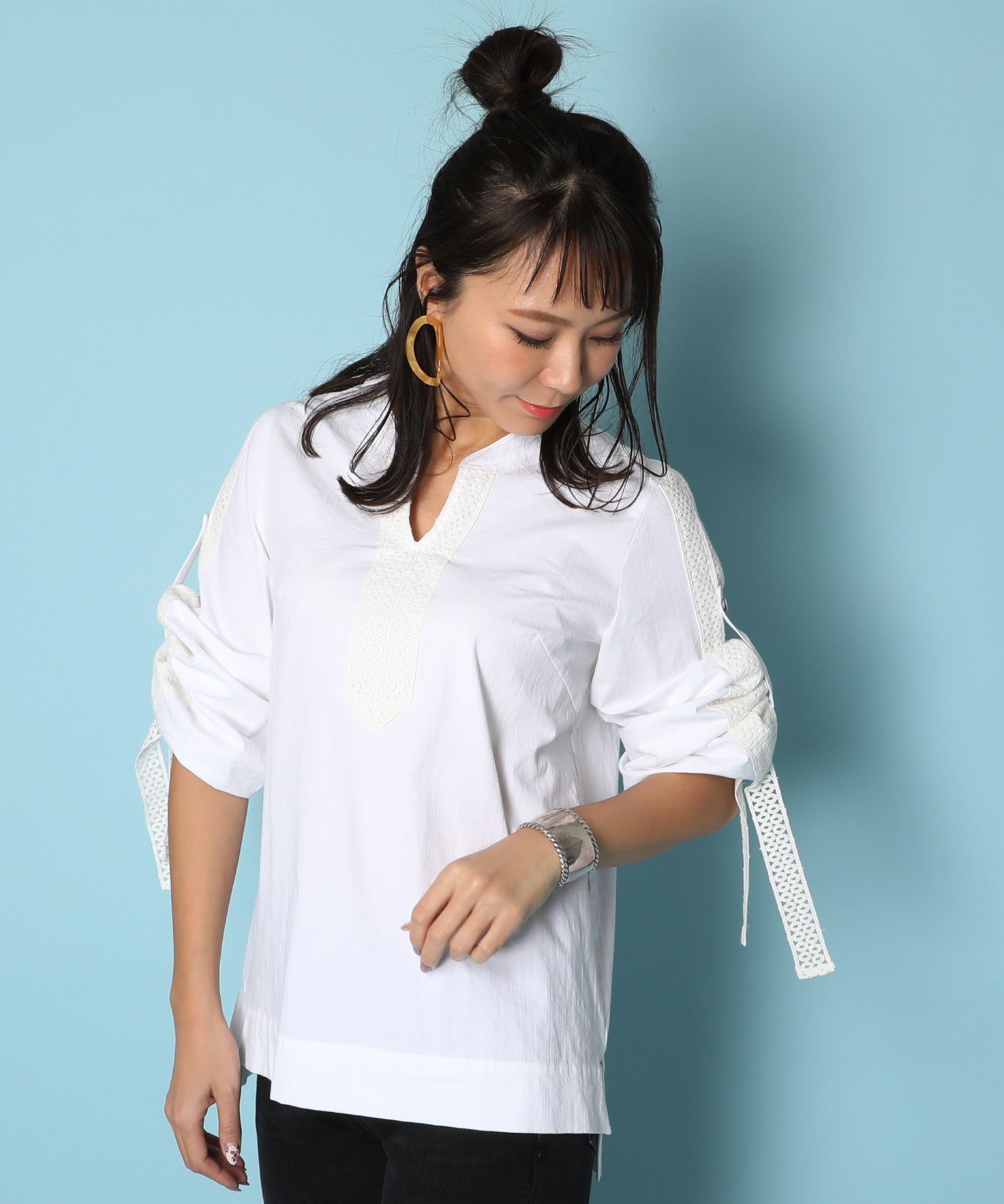 American Rag Cie Lace Pullover Shirt/アメリカンラグシー レースプルオーバーシャツ