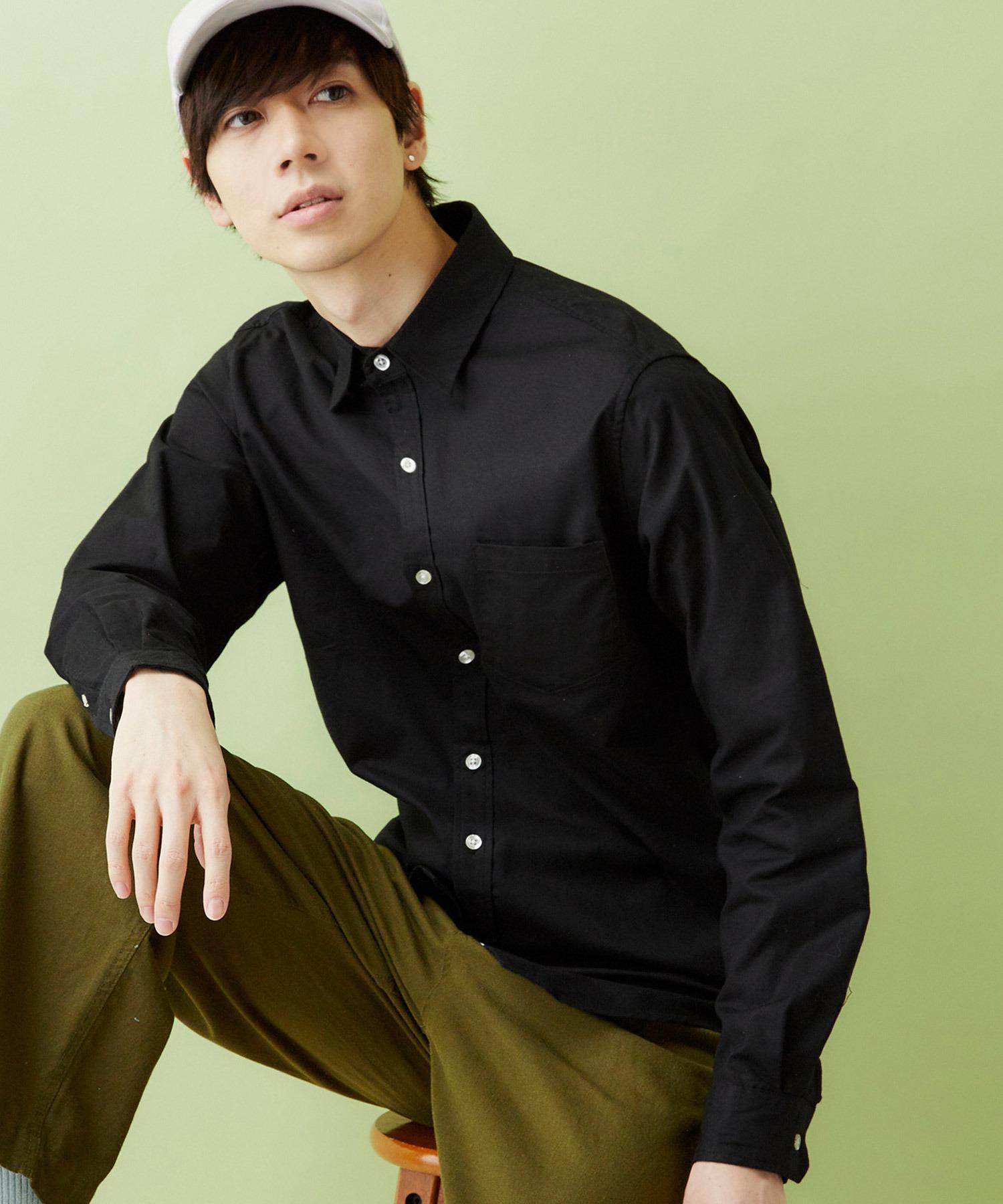 レギュラーカラー ストレッチリネンシャツ L/S (Natural cotton linen fabric)