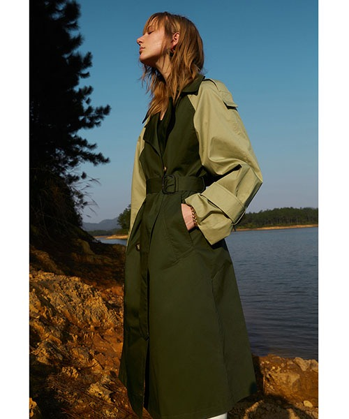 【Fano Studios】【2021SS】Bicolor oversized belted trench coat cb-3 FC21W058
