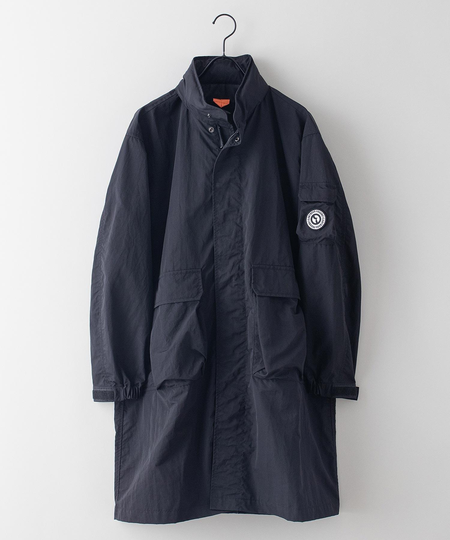 撥水ロングコート 着るBAGシリーズ ポケット10個 収納力抜群 ハーネス仕様 体温調節を容易にできる仕様 収納式フード