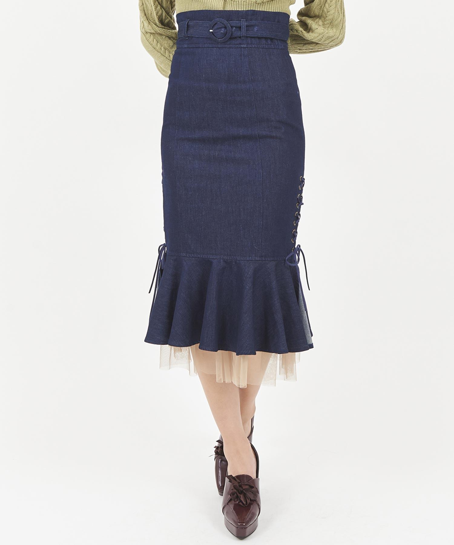 サイドスピンドルマーメイドスカート/マーメイドスカート