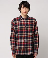【ALEX MILL】Navy Brushed Plaid Flannel Shirt