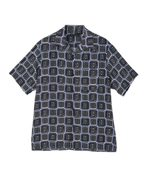 SQUARE&SOUNDS柄 オープンカラーシャツ