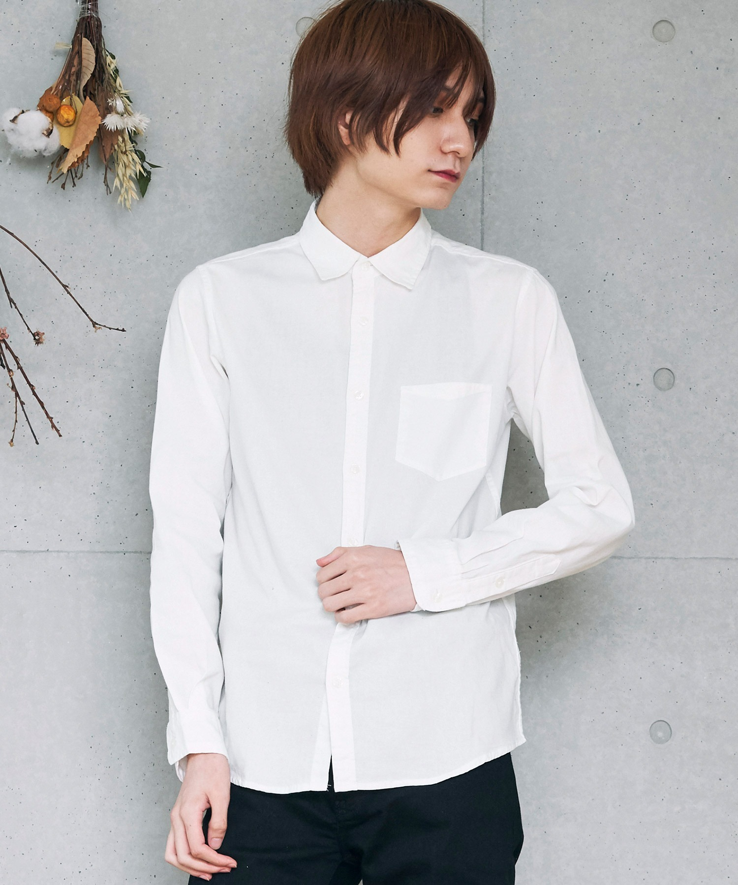 コットンストレッチ オックスフォード 無地チェック柄 L/S シャツ/長袖襟付きシャツ