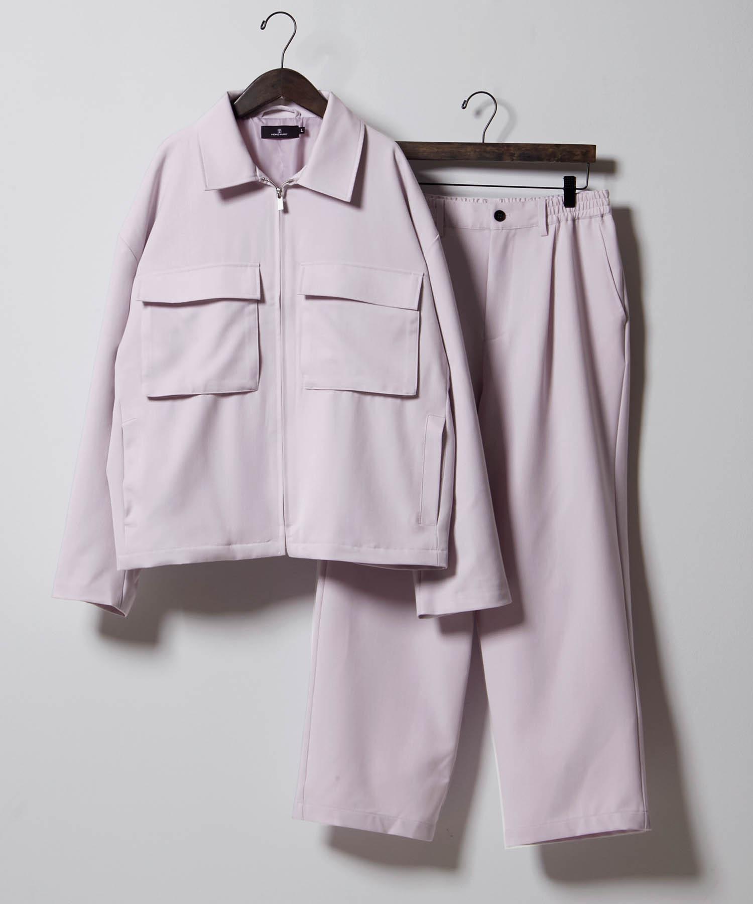 【セットアップ】TRストレッチ スーツ地 オーバーサイズ CPOジャケット & ワイドパンツ -2021SPRING-