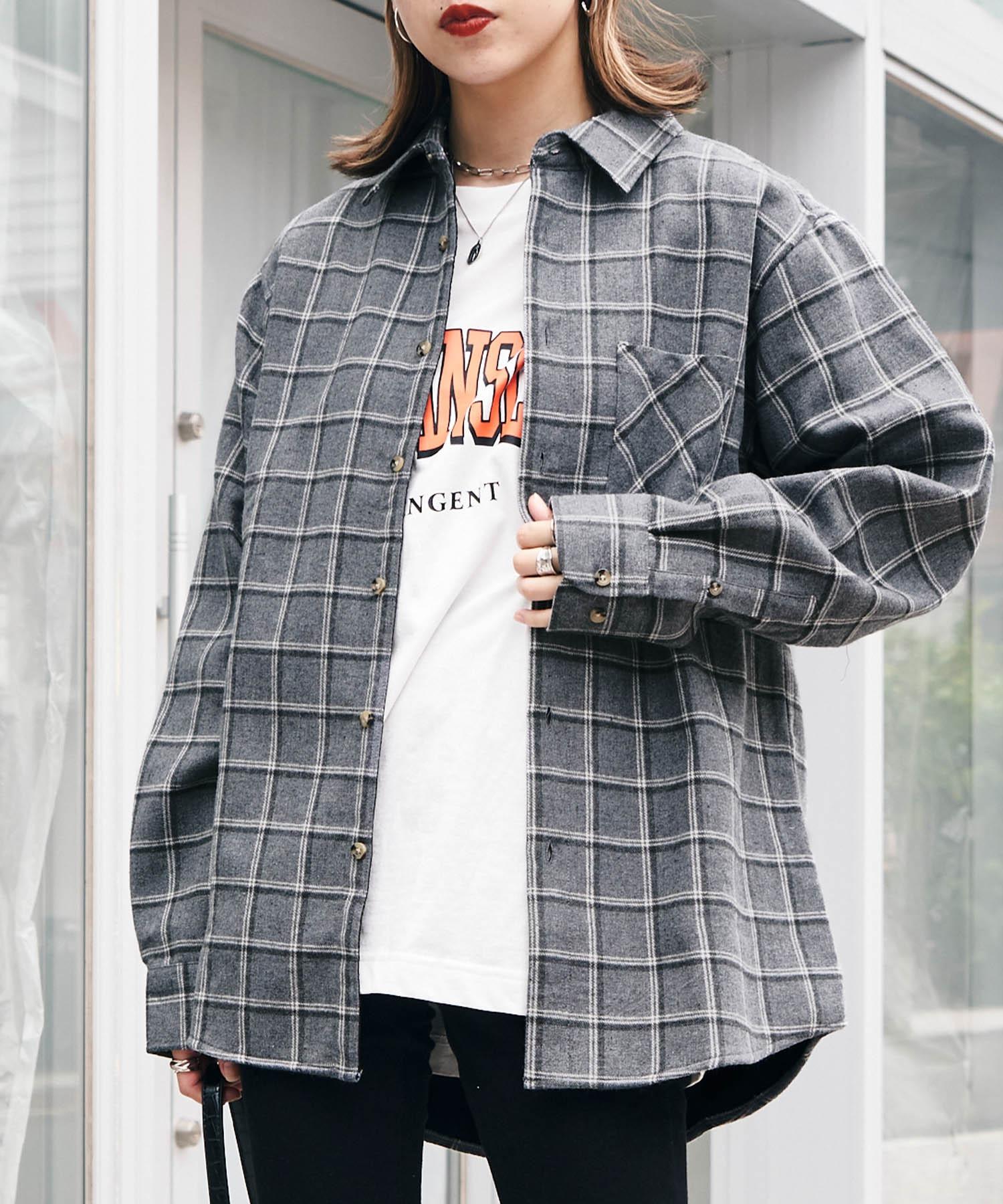 オーバーサイズ フリースボンディング チェック柄 L/S ヘビーネルシャツ