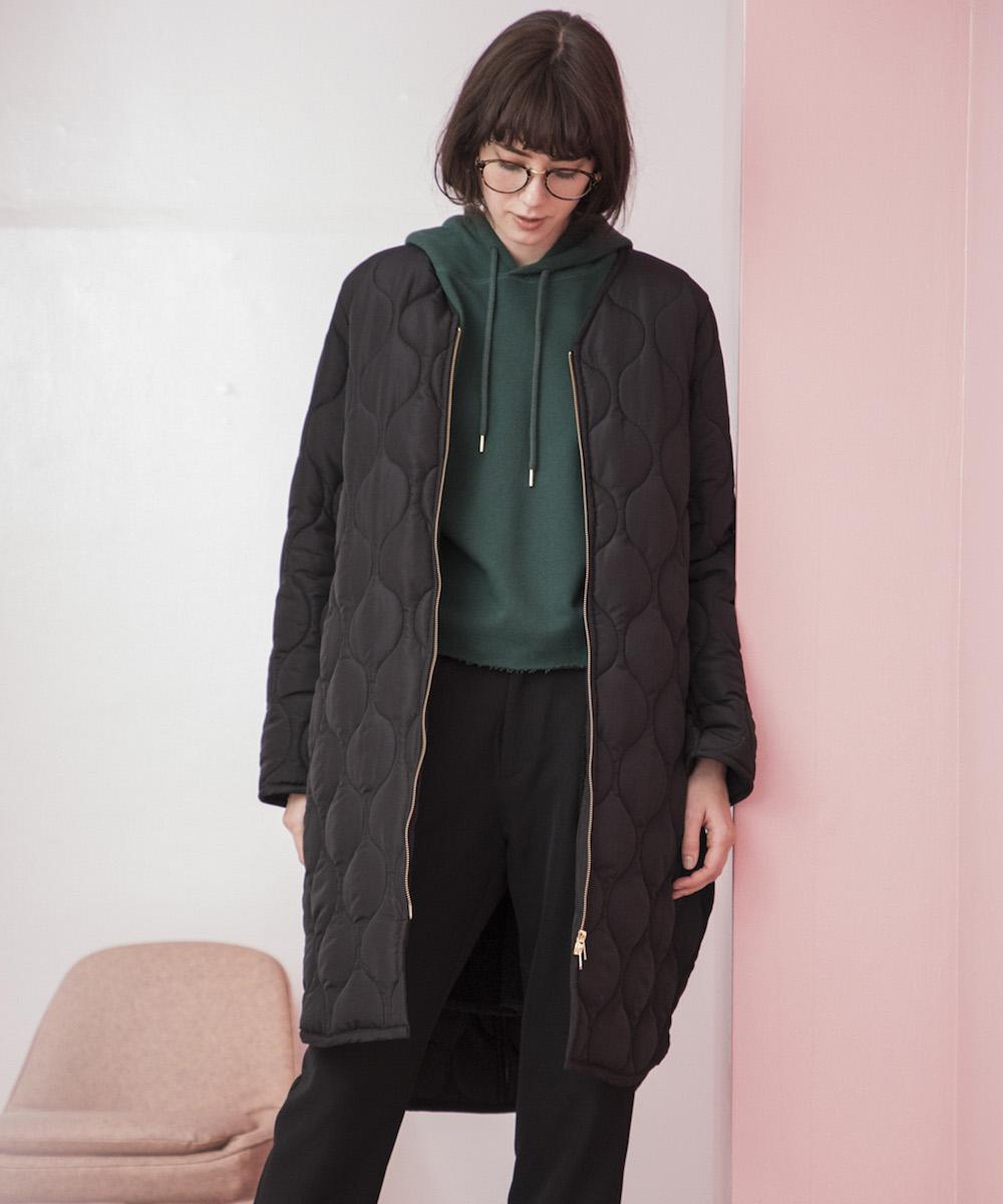 【STYLEBAR】ミリタリーノーカラーキルティングコクーンコート