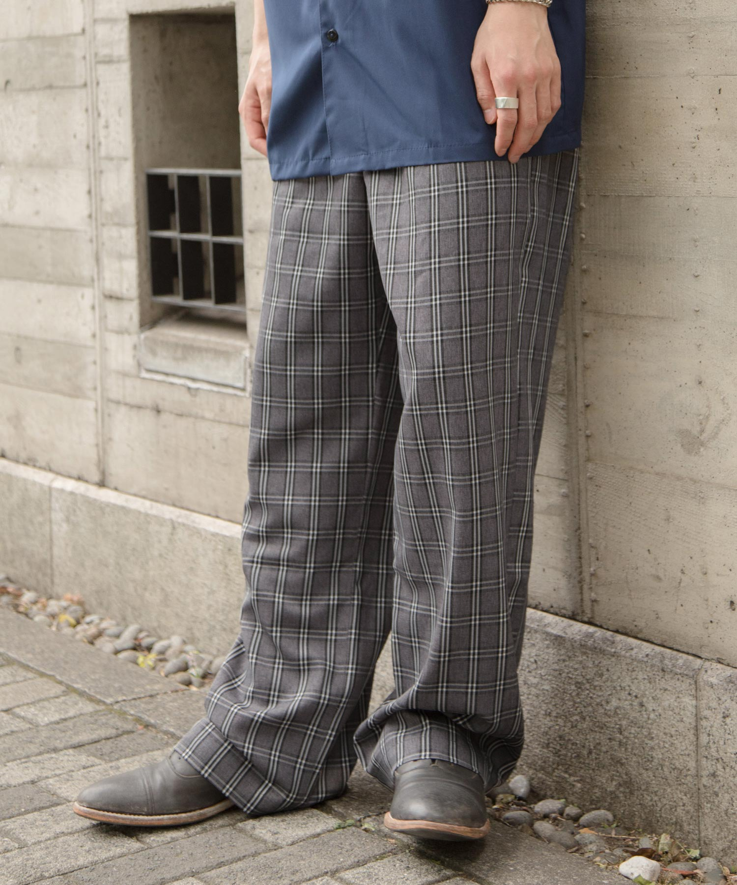 ファッションインフルエンサー ろむし × BASQUE magenta チェックワイドイージーパンツ
