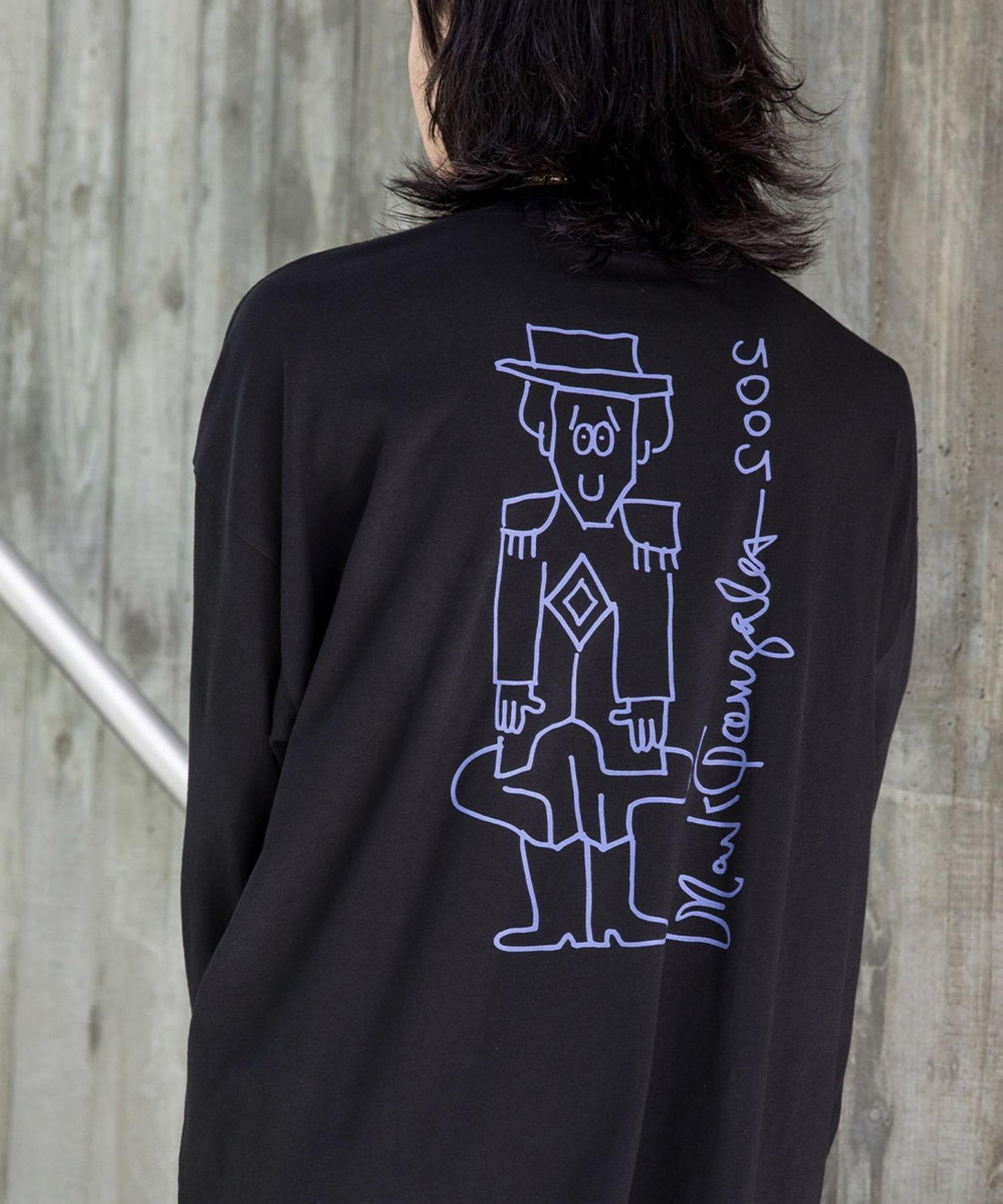 【BASQUE -enthusiastic design-】Mark Gonzales/マークゴンザレス BASQUE magenta別注 スーパービッグシルエット 長袖Tee(背面プリント)