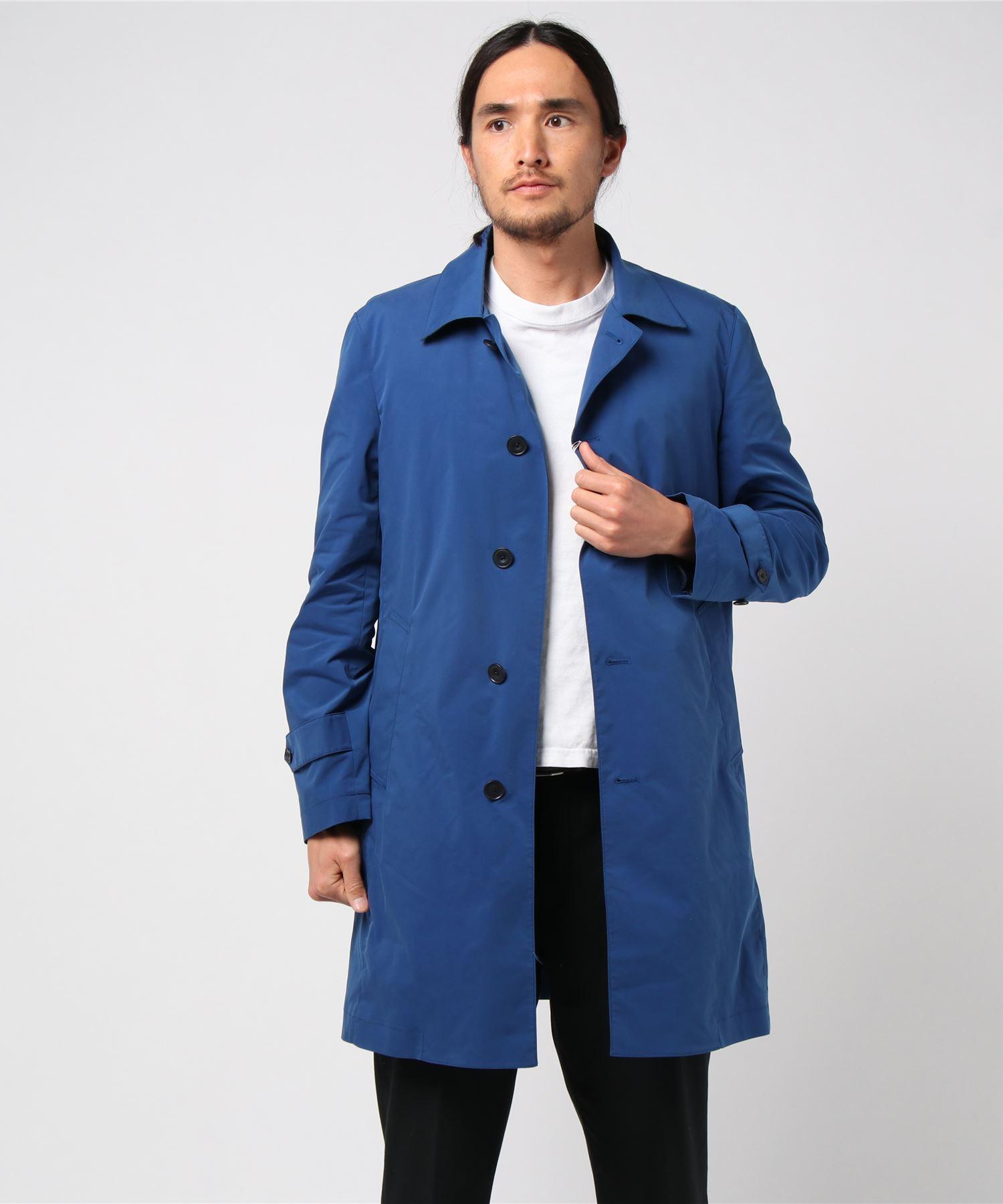 合繊ステンカラーモバイルコート 綿タッチ合繊 ブルー