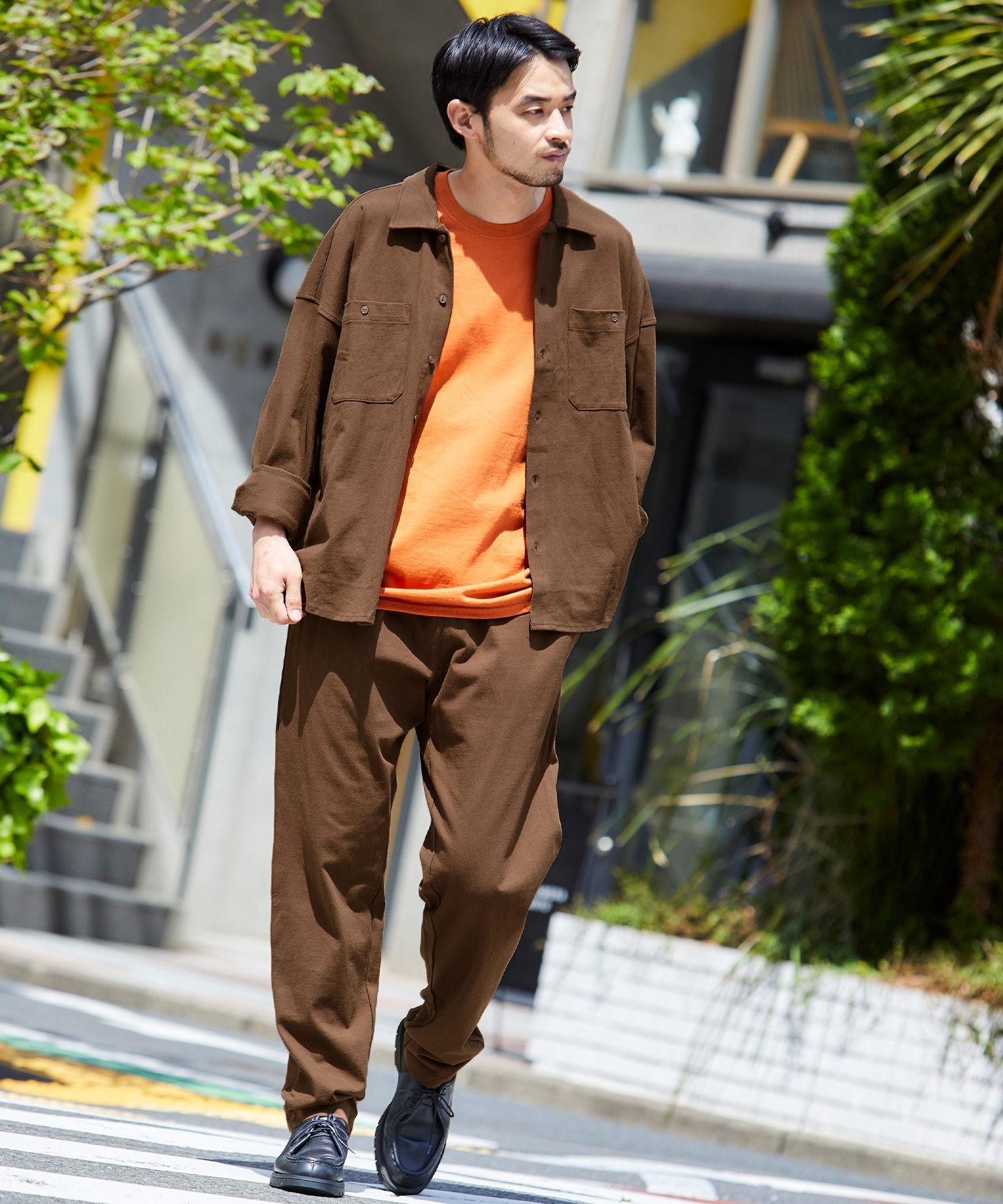 【セットアップ】USAコットン オーバーサイズ CPOレギュラーカラー/スキッパーバンドカラーシャツ&シェフパンツ