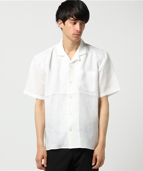 フレンチリネンオープンカラーシャツ