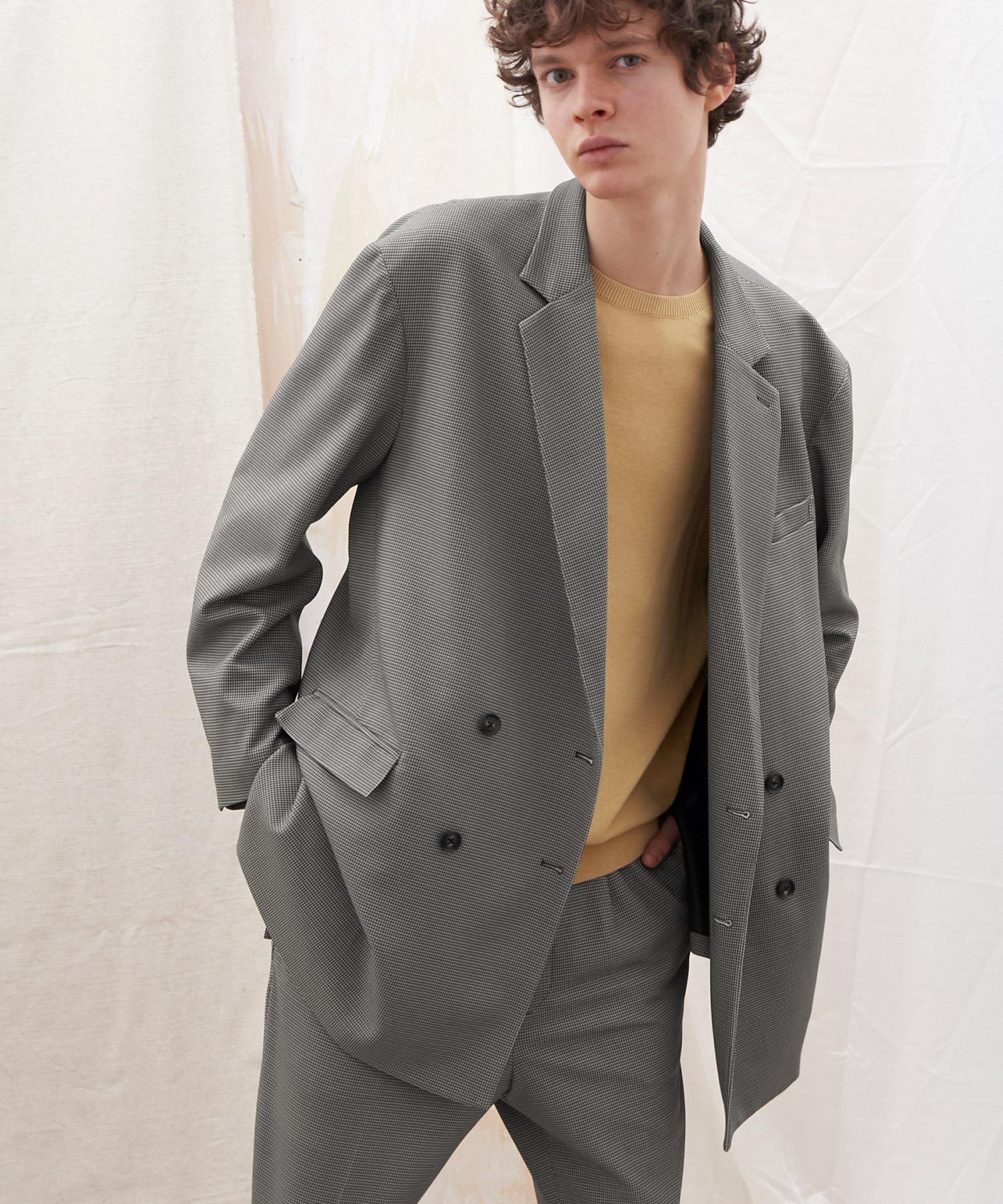 梨地ルーズリラックス ドレープ オーバーサイズ ダブルテーラードジャケット/EMMA CLOTHES 2021S/S