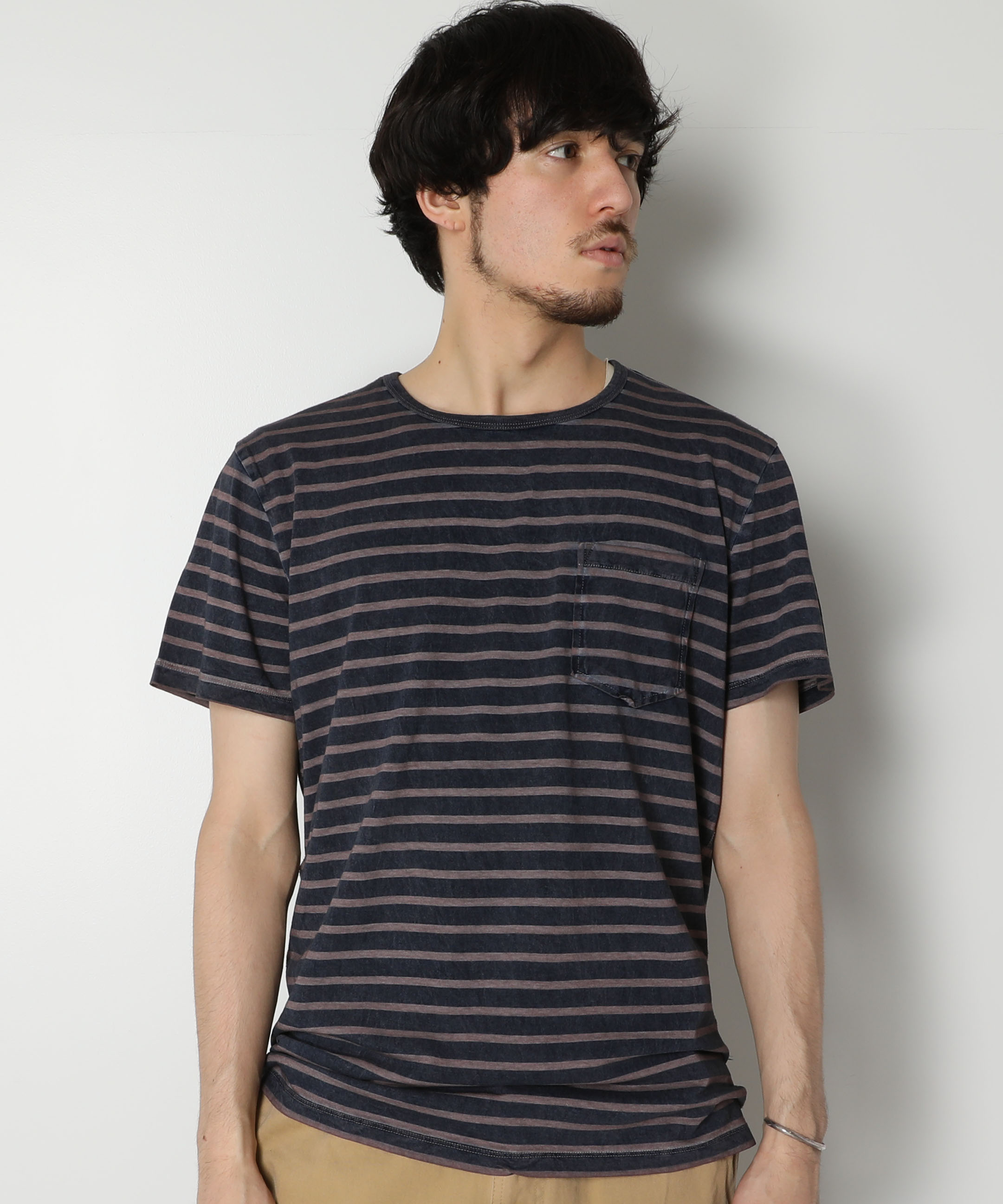 AR321 Stripe Pocket T-shirt/AR321 ボーダーポケットTシャツ