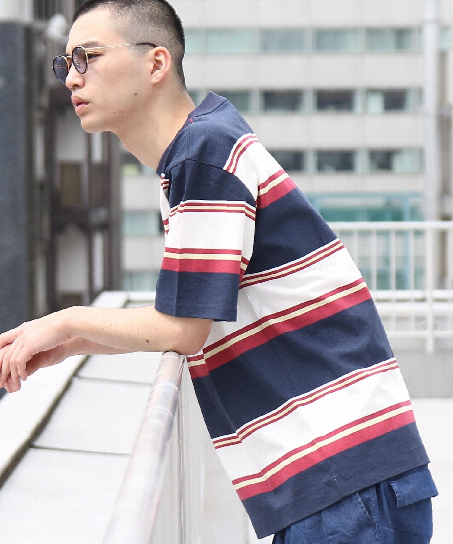 ビッグシルエットマルチボーダーTシャツ1