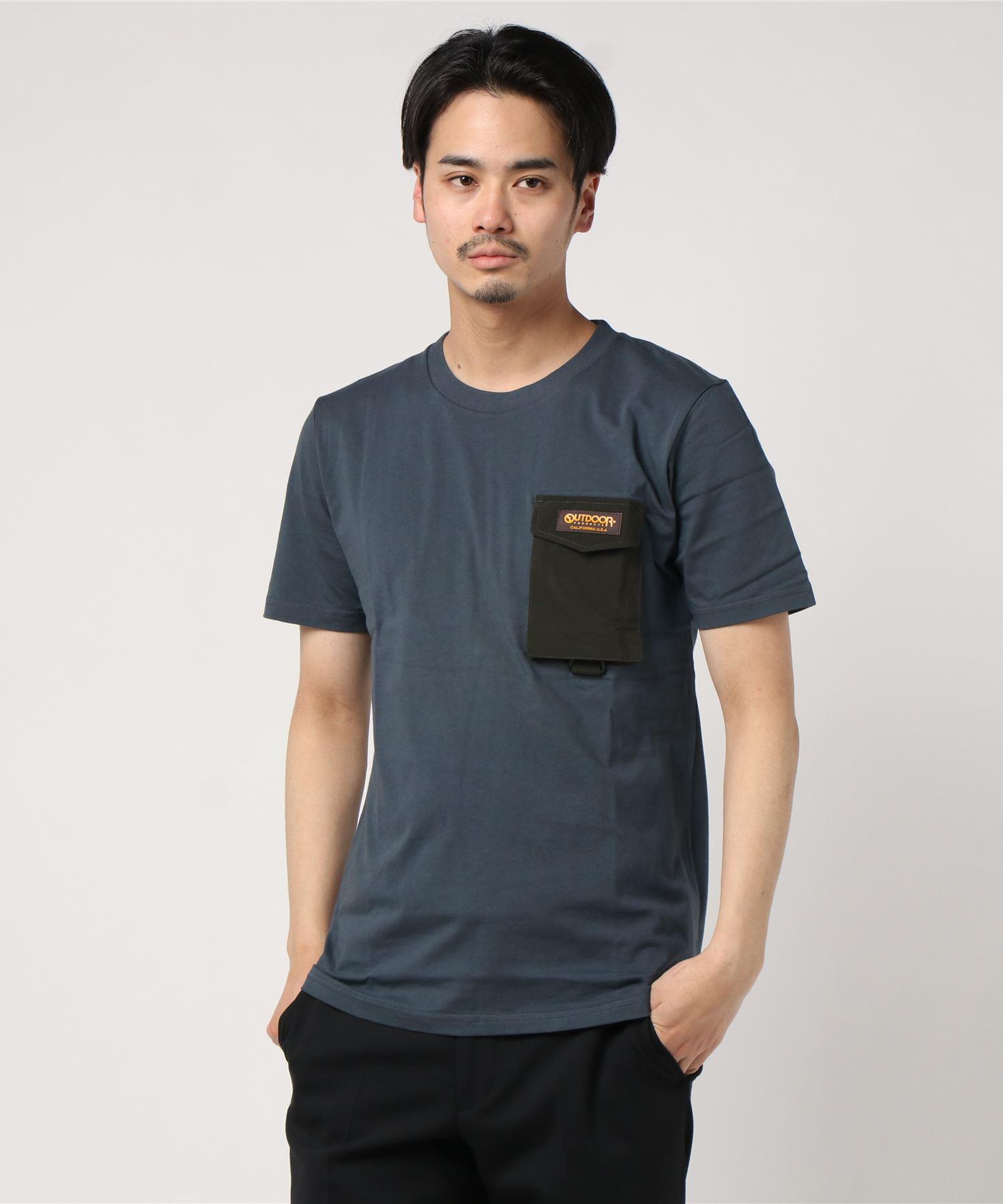 ロゴテープ シリコンロゴ プリントTシャツ ポケット付き