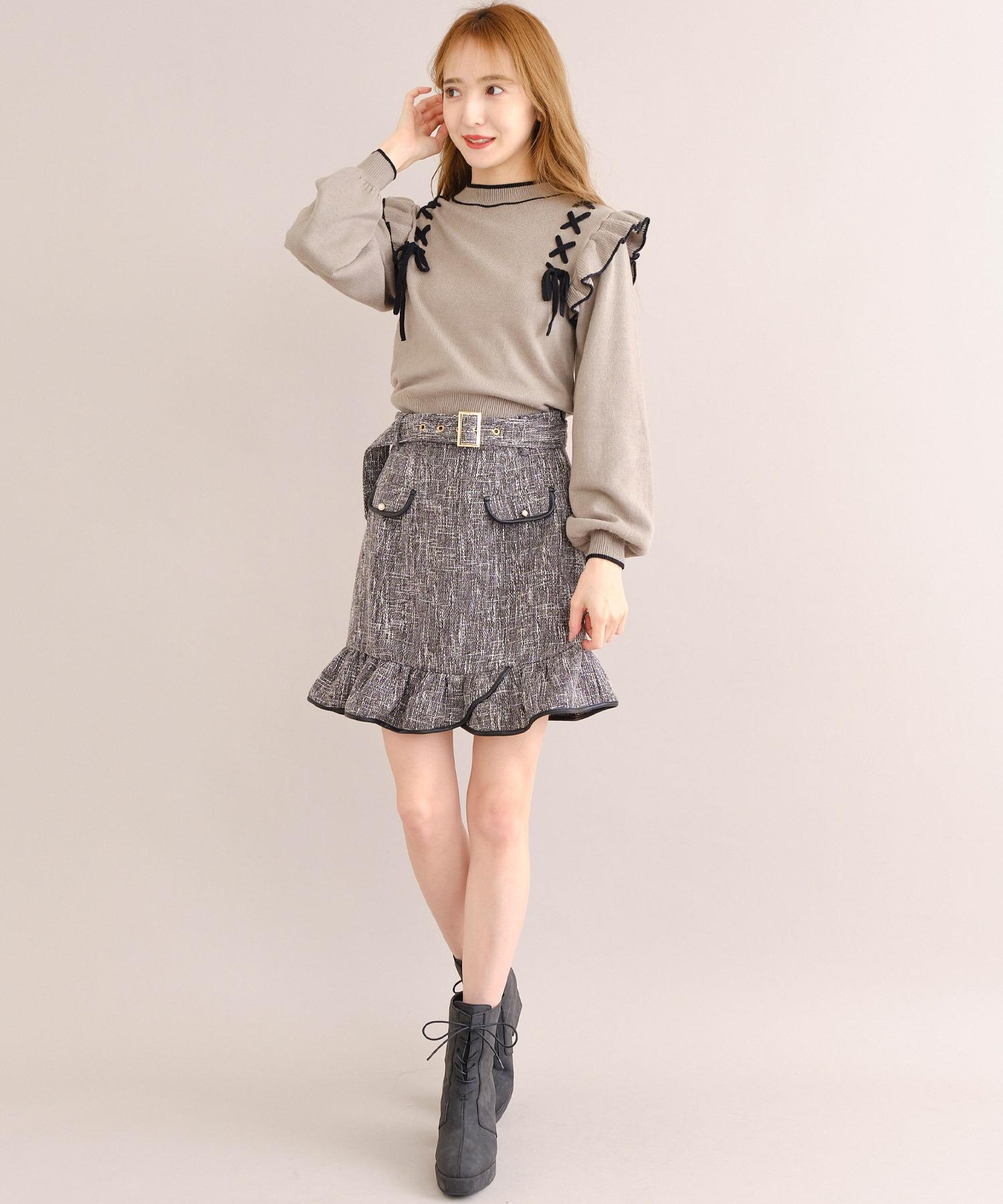 ヘムフリルツイードスカート