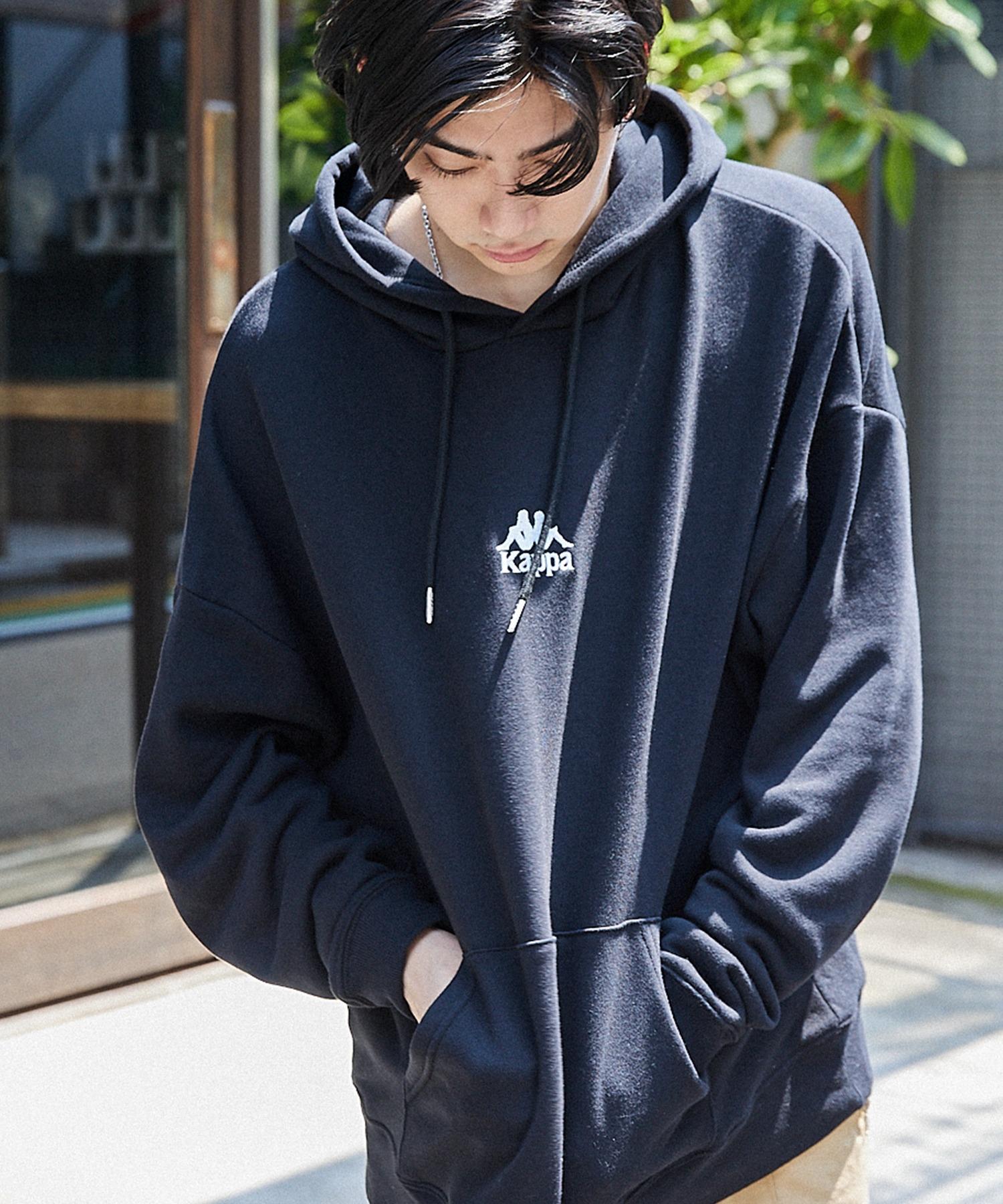 ▽WEB限定 Kappa/カッパ 別注ロゴ刺繍 ビッグシルエット プルオーバーパーカー