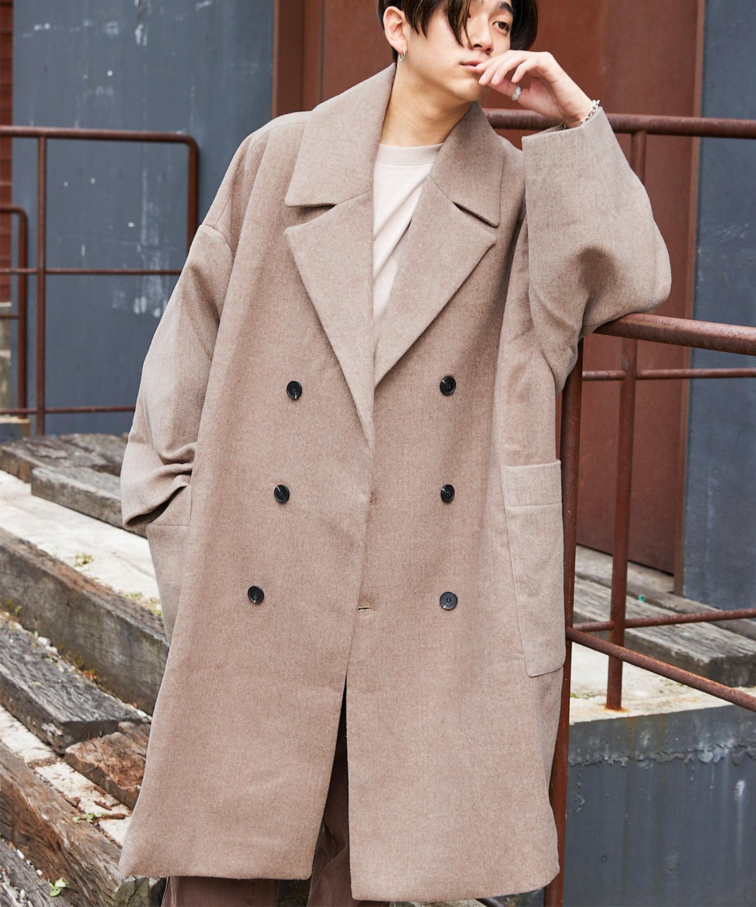 ビッグシルエットメルトンダブルチェスターオーバーコート/Melton Double Chesterfield Big Coat