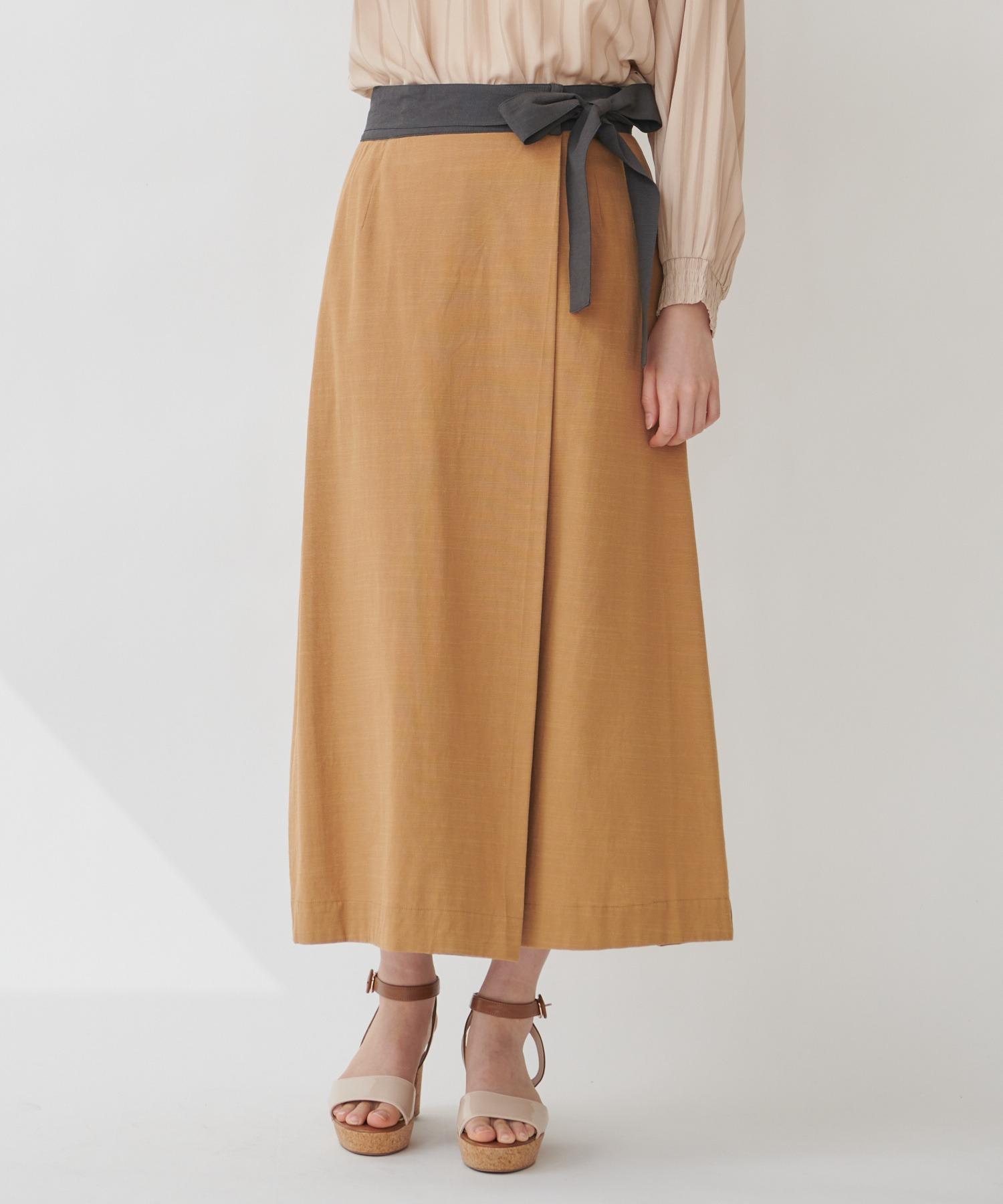 【THE CHIC】コットンリネンバイカラーラップスカート