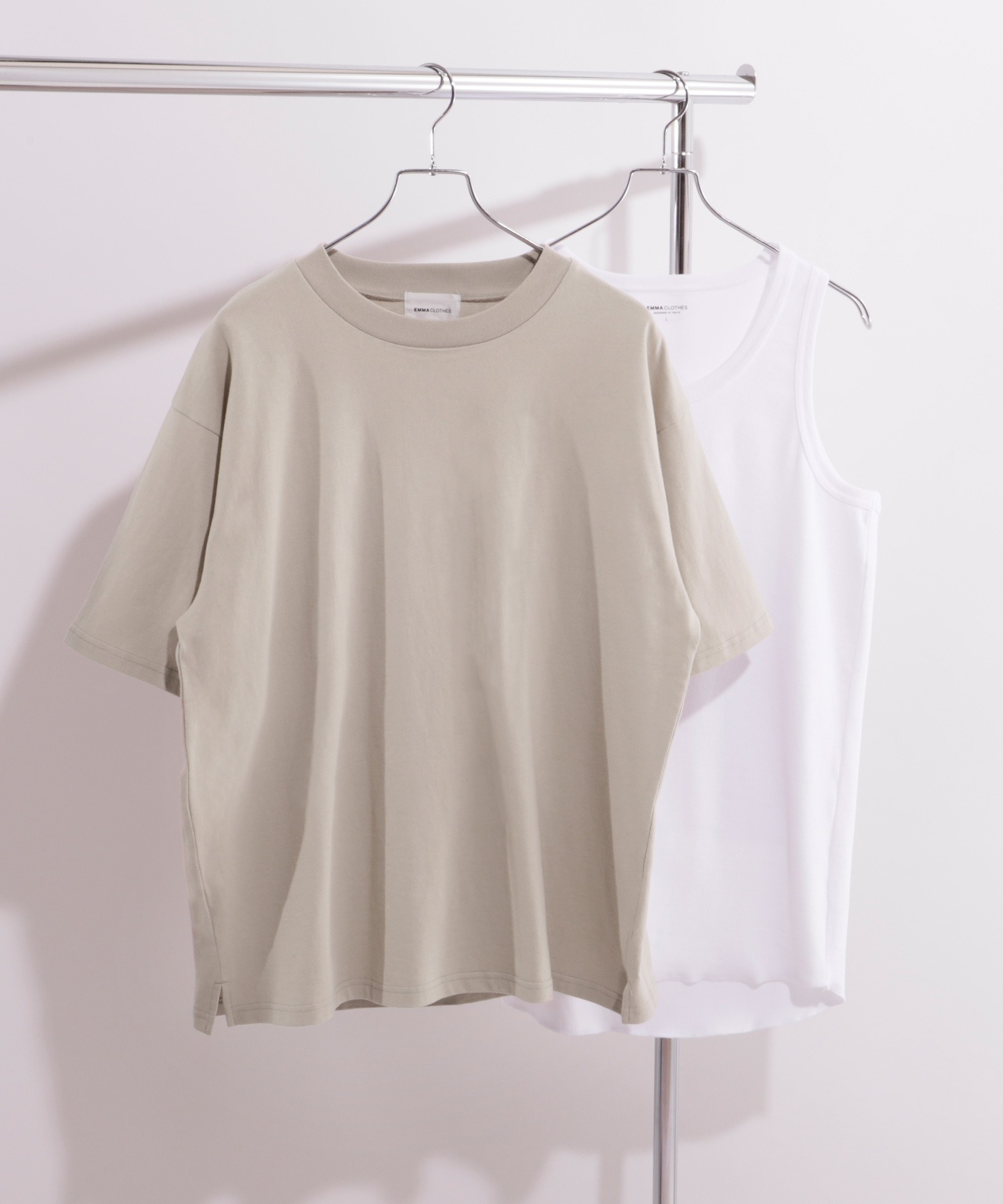 ヘビーウェイト ビッグシルエット クルーネック Tシャツ / ロング タンクトップ セット(EMMA CLOTHES)