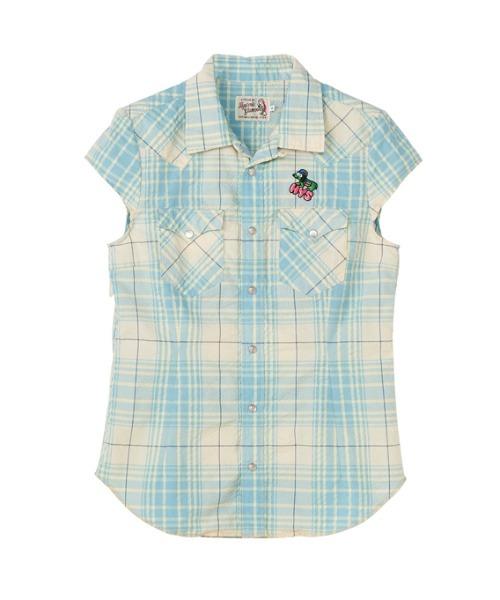 HYS DOG刺繍 キャップスリーブウエスタンシャツ