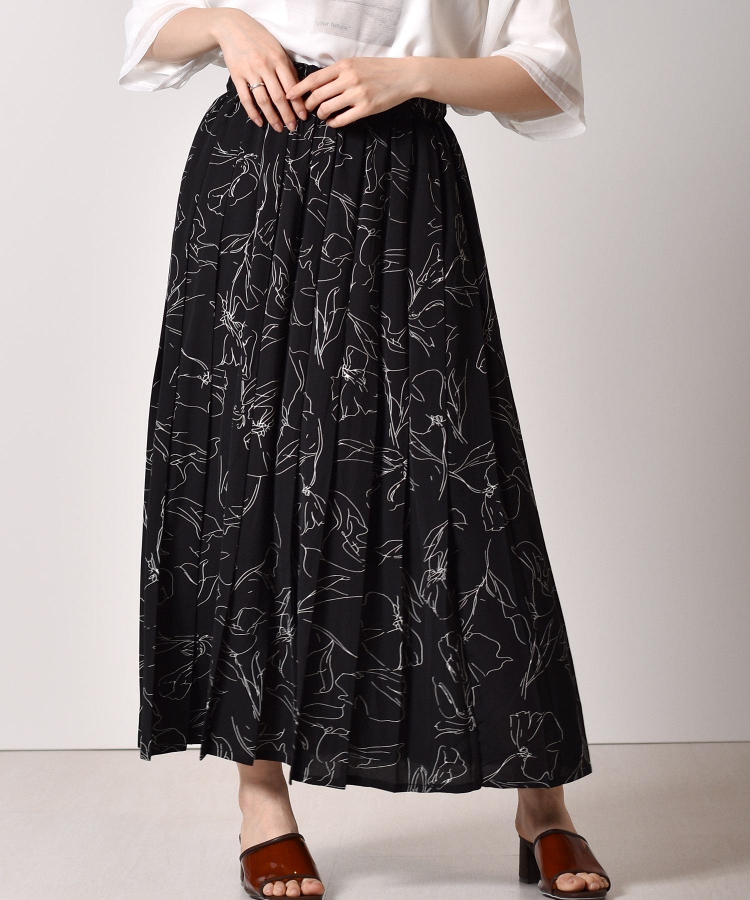 ラインフラワープリーツスカート