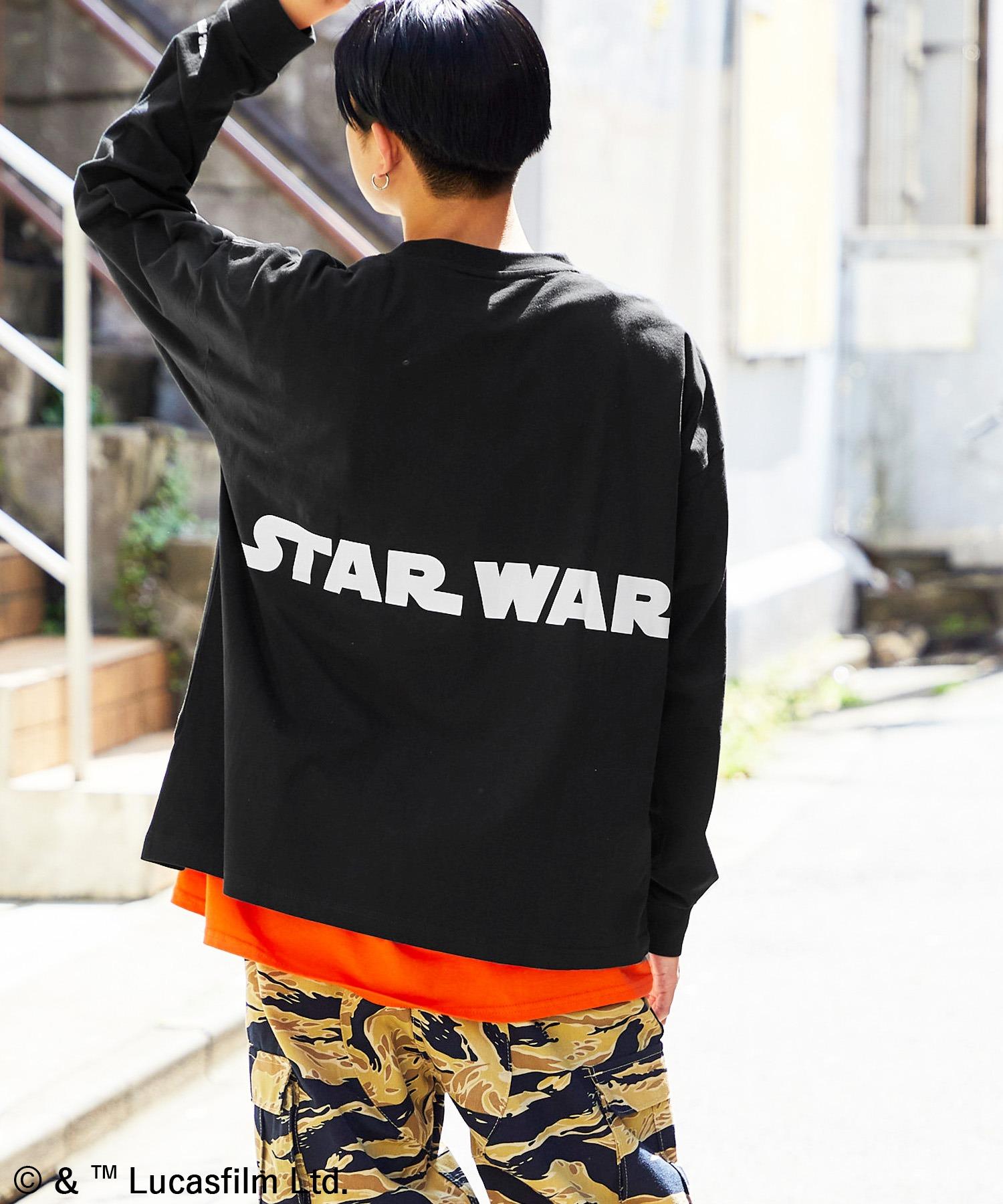WEB限定 STAR WARS/スター・ウォーズ 別注 バッグロゴプリント ビッグシルエット L/S カットソー