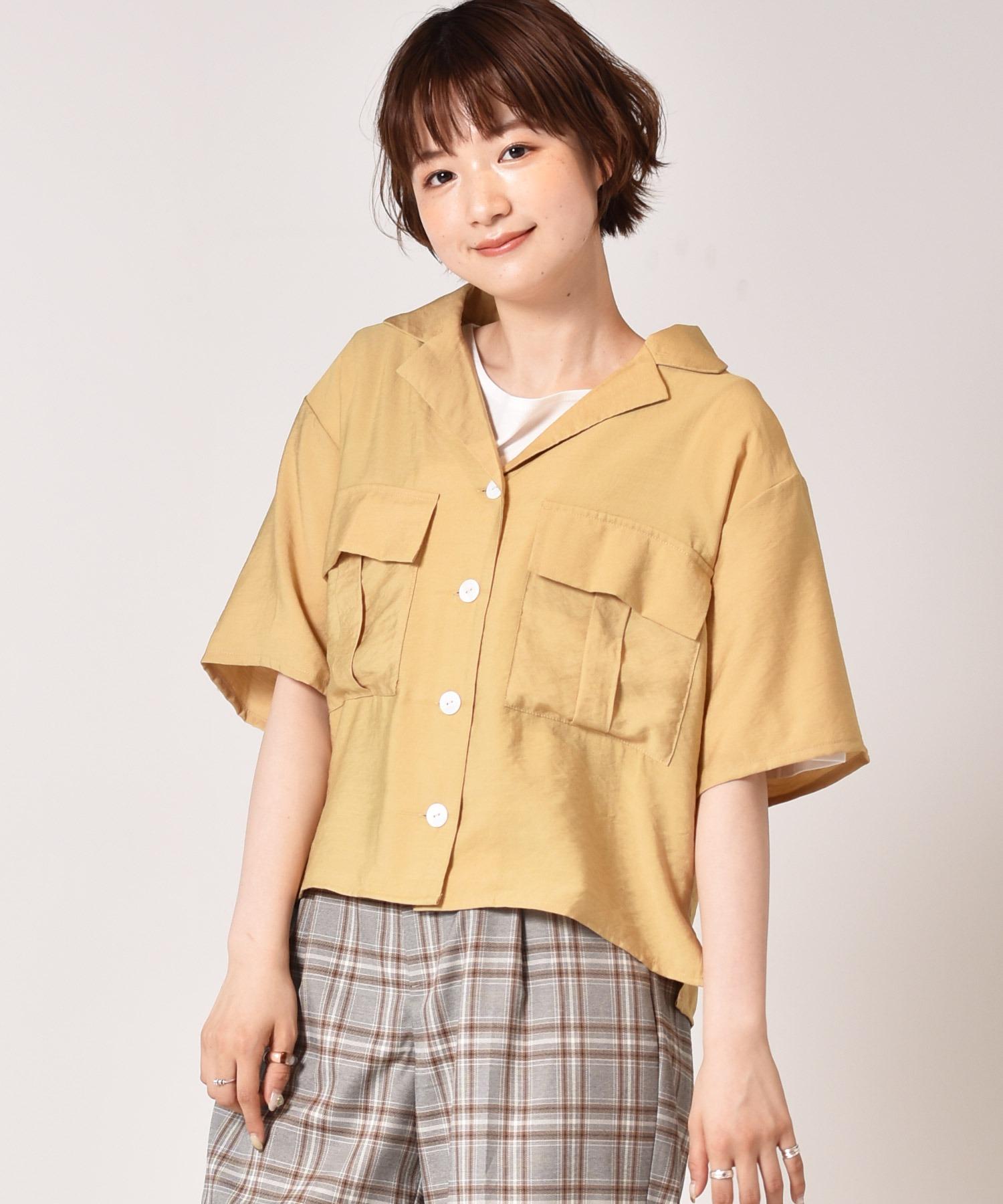 麻ライク半袖シャツ