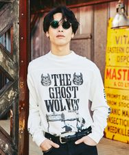 THE GHOST WOLVES/THE GHOST WOLVES R&R プリント リブ付Tシャツ