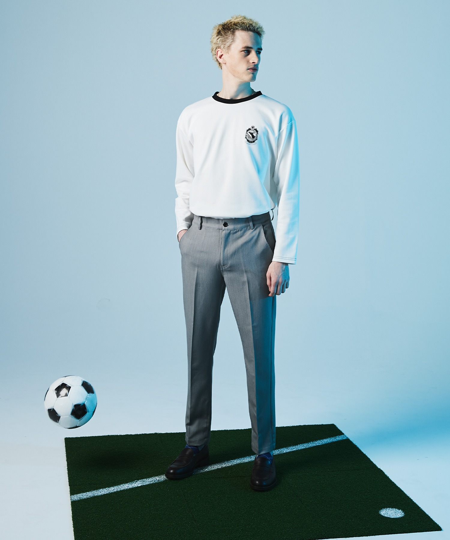 ポンチローマ オーバーサイズ 切り替え Footballロゴカットソー L/S (EMMA CLOTHES)