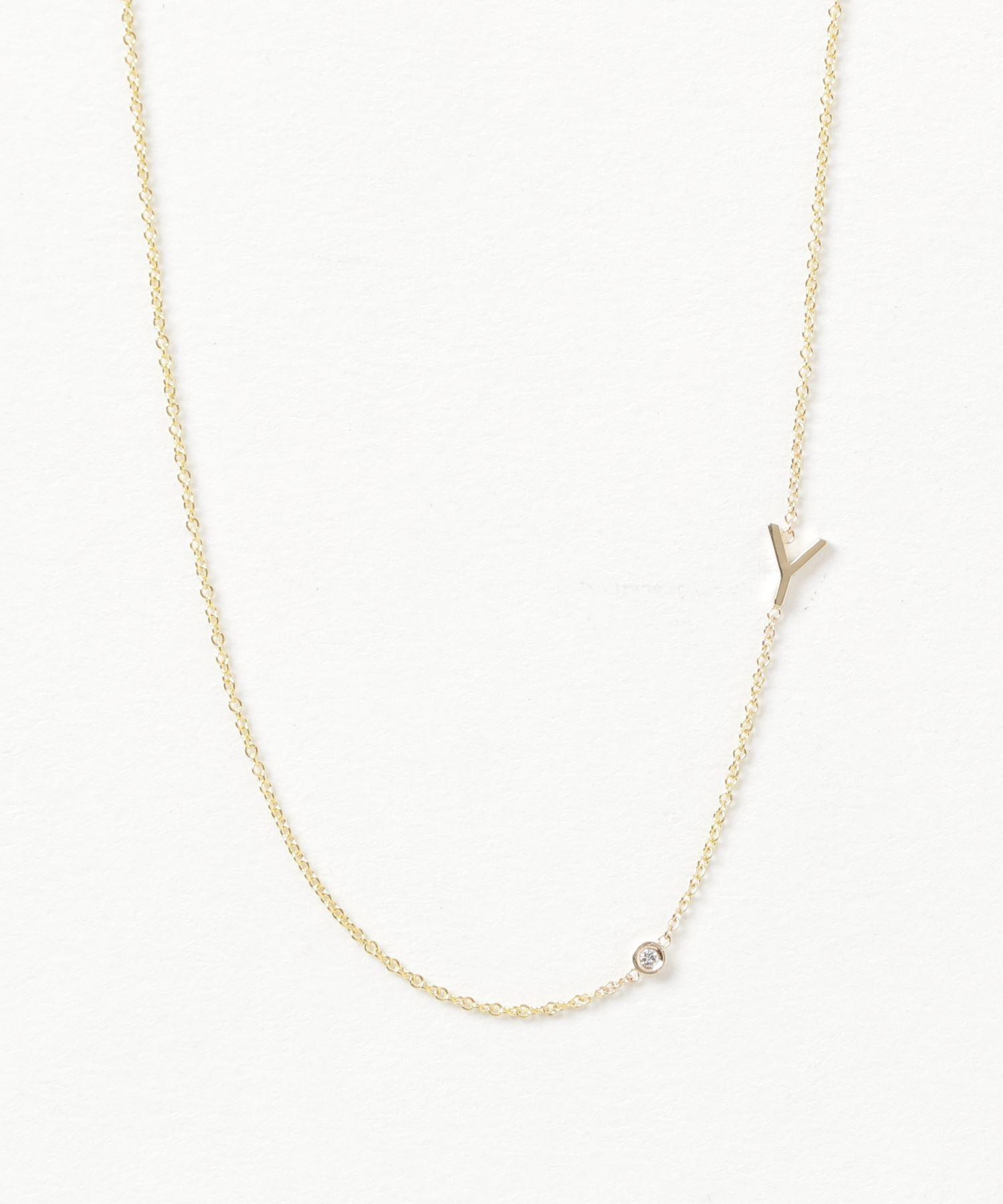 Maya Brenner Designs 14KYG MiniLetter Necklace with Diamond/Y