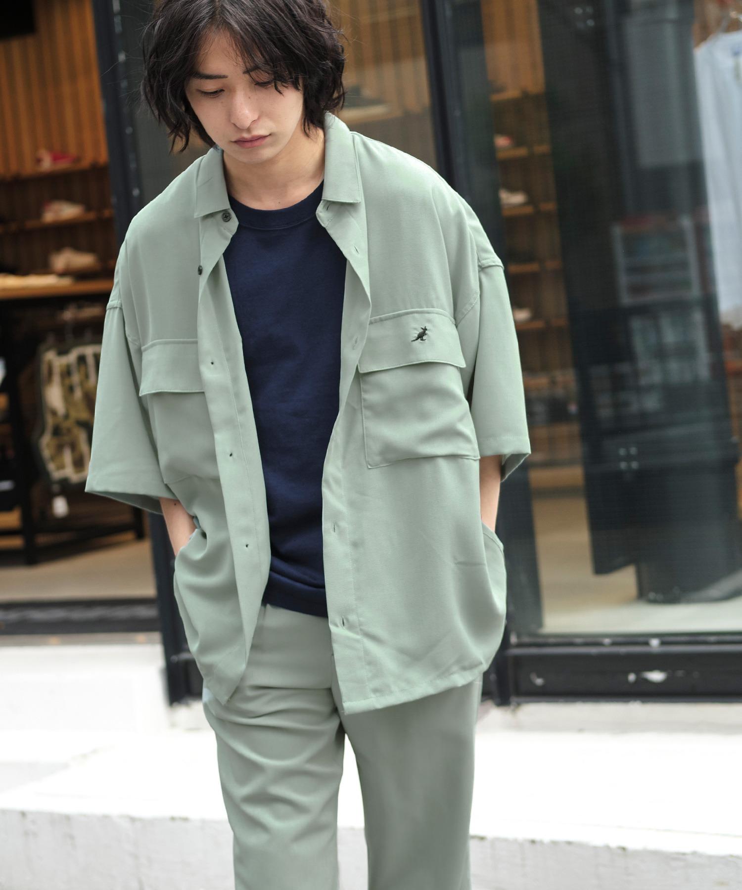MONO-MART×KANGOL リラックスレギュラー クレリックカラー オーバーサイズ ドレープCPOシャツ(1/2 sleeve)